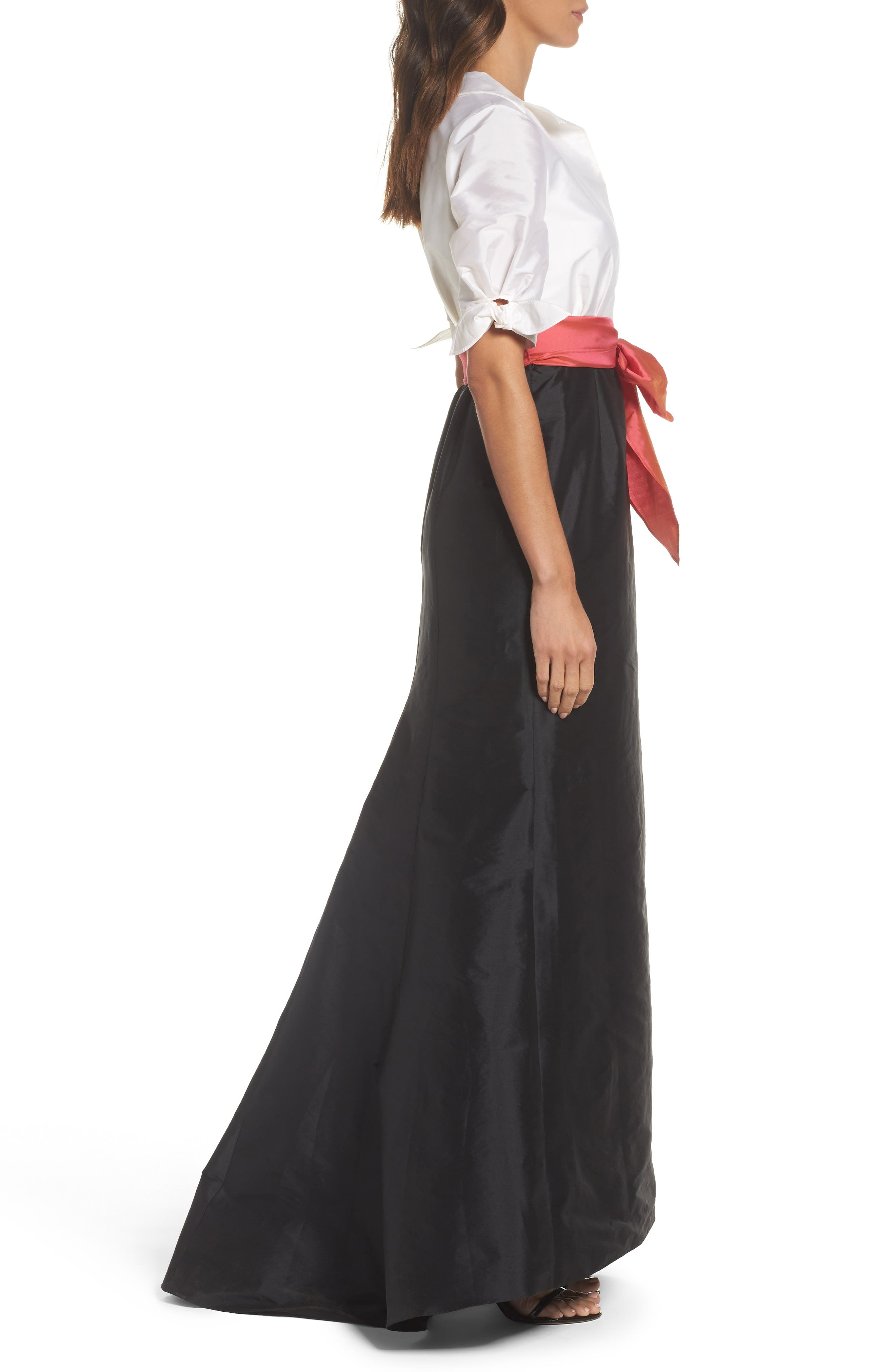Adrianna Pappell Taffeta Mermaid Gown with Train,                             Alternate thumbnail 3, color,                             Ivory/ Black