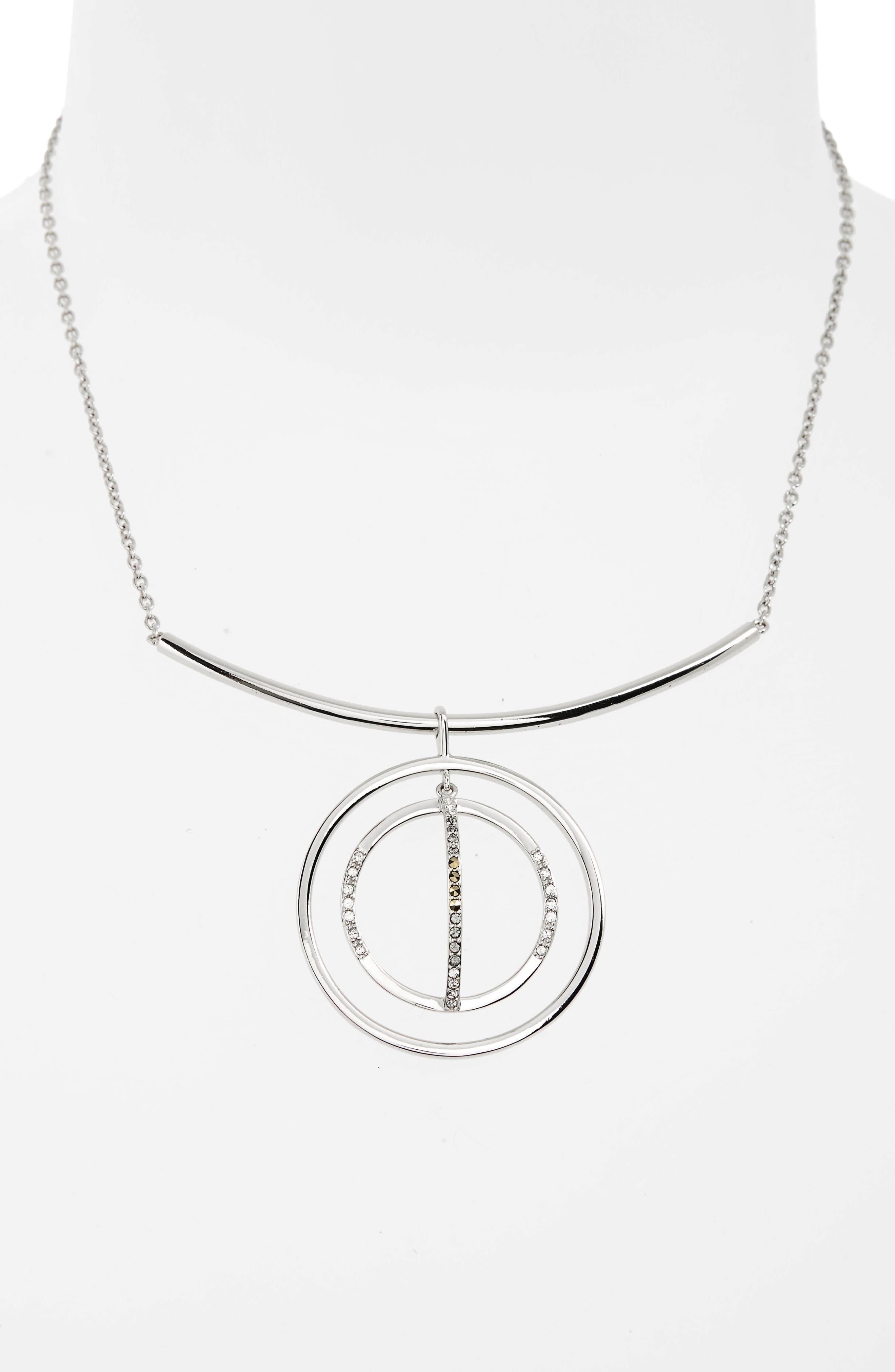 Silver Sparkle Circle Pendant Necklace,                             Alternate thumbnail 2, color,                             Black Diamond/ Marcasite