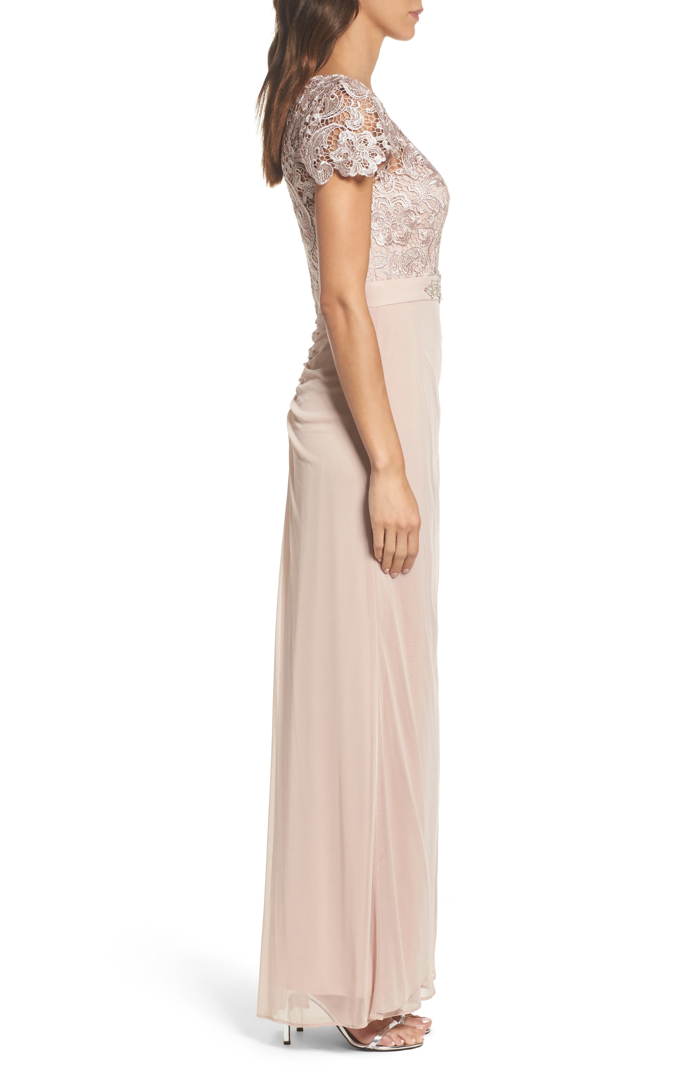 Lace Column Gown,                             Alternate thumbnail 3, color,                             Taupe