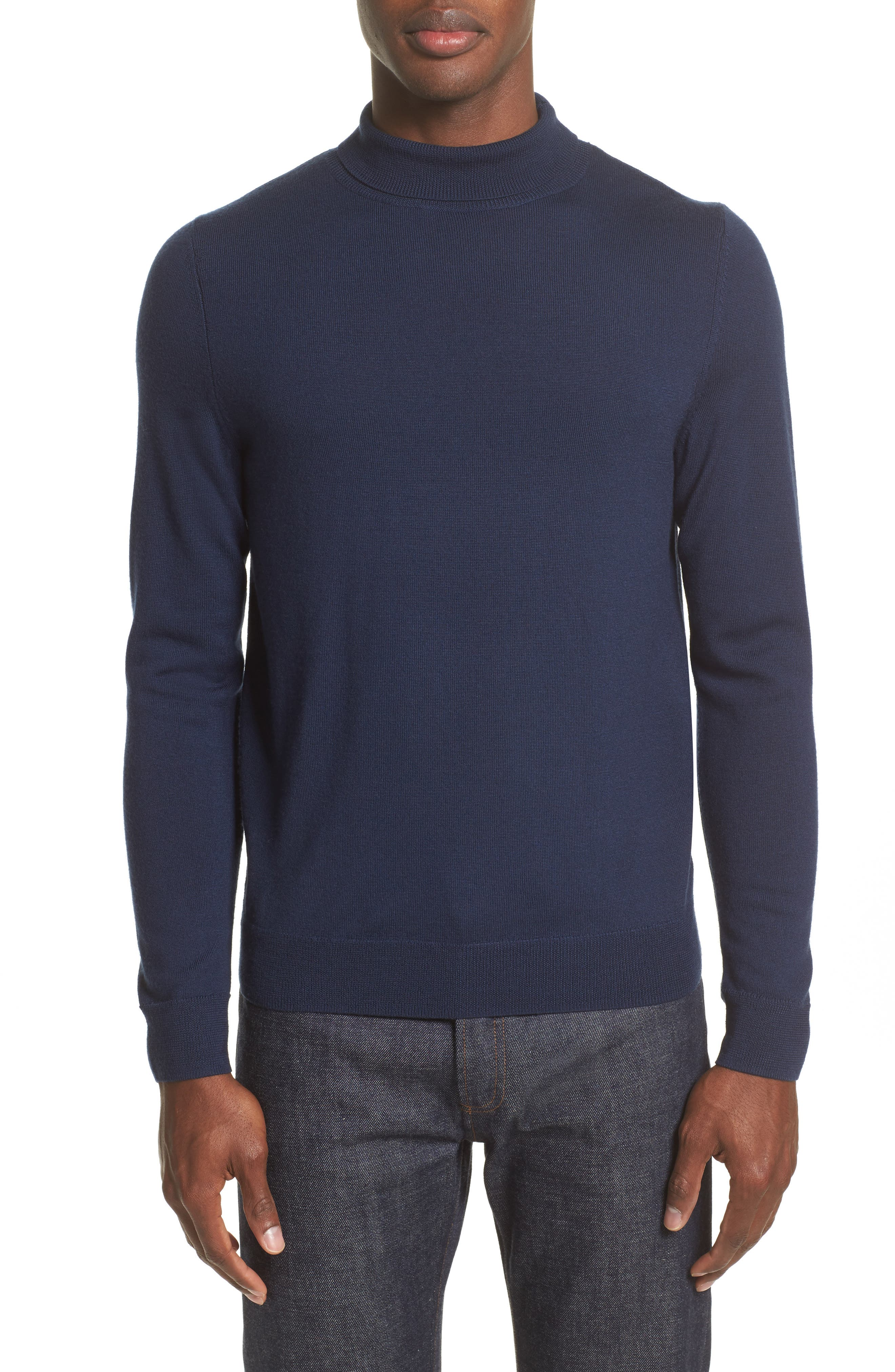 Dundee Mock Neck Sweater,                         Main,                         color, Marine