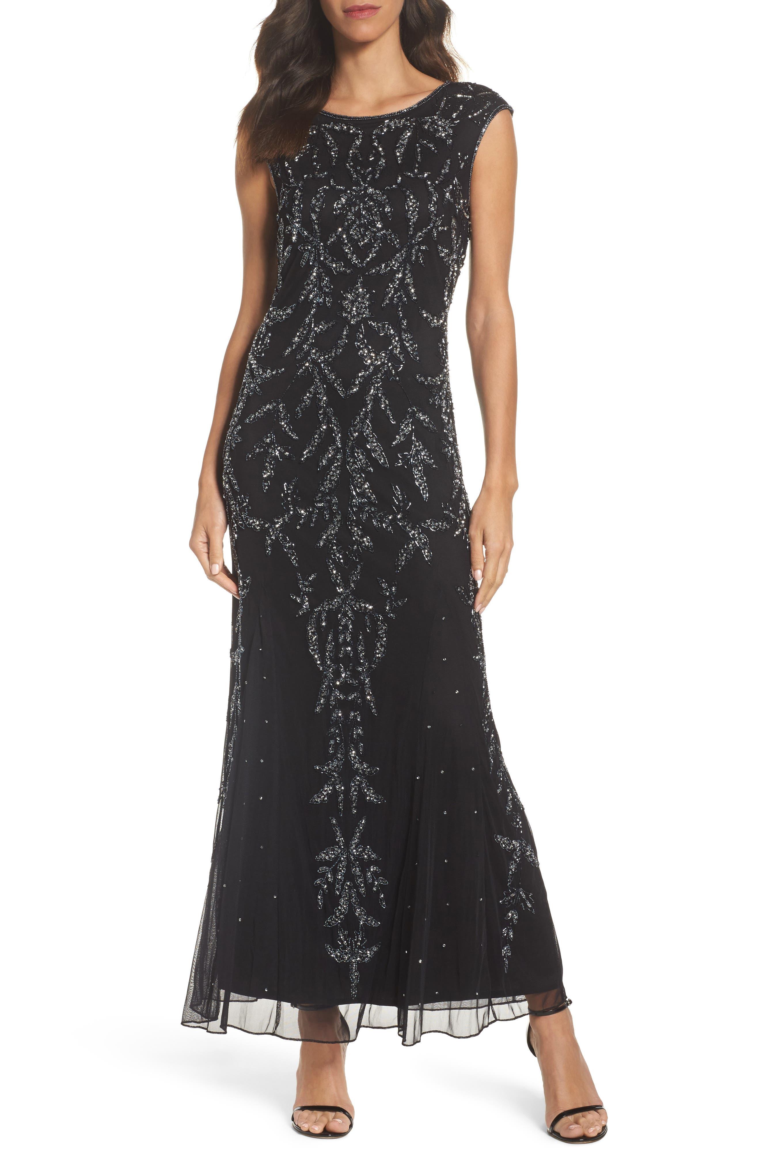 Floral Motif Embellished Gown,                         Main,                         color, Black