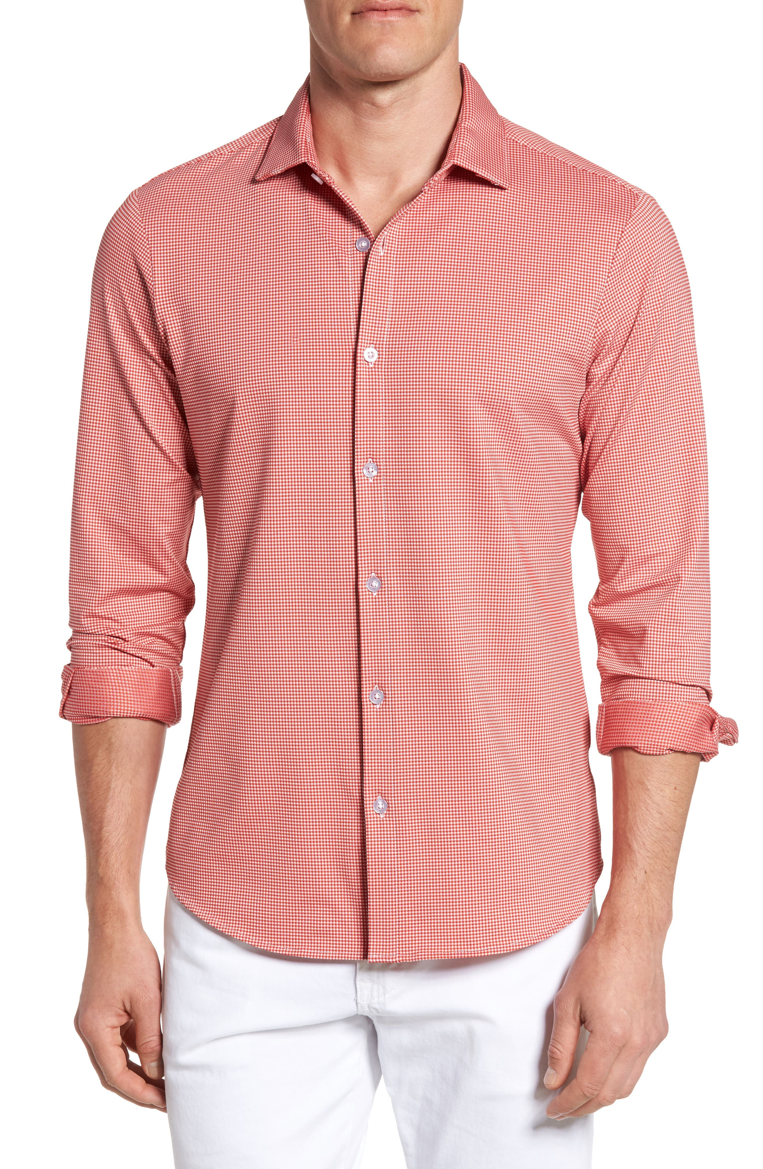Hawthorne Gingham Sport Shirt,                             Main thumbnail 1, color,                             Red