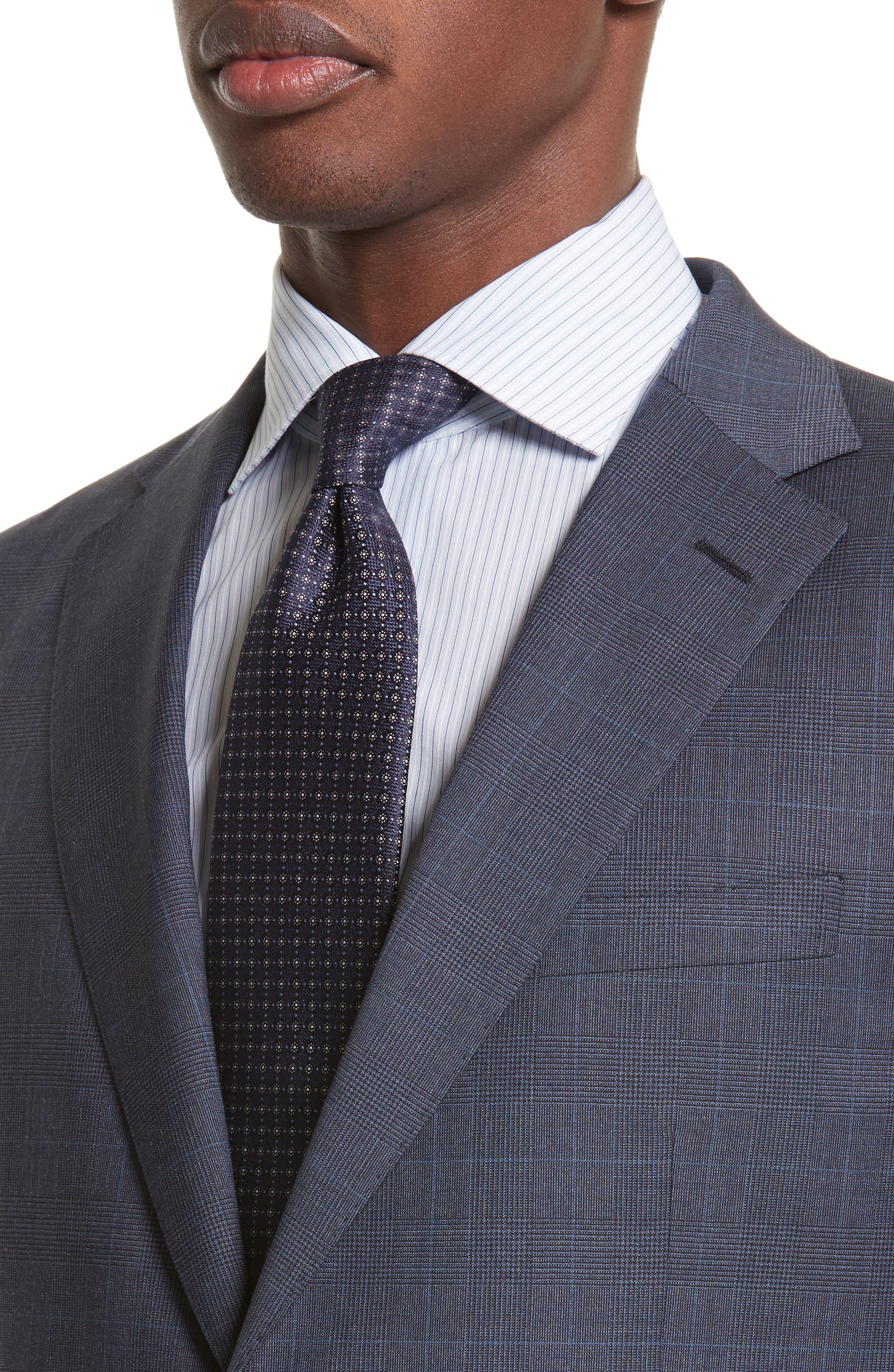 Drop 7 Trim Fit Plaid Wool Suit,                             Alternate thumbnail 4, color,                             Navy