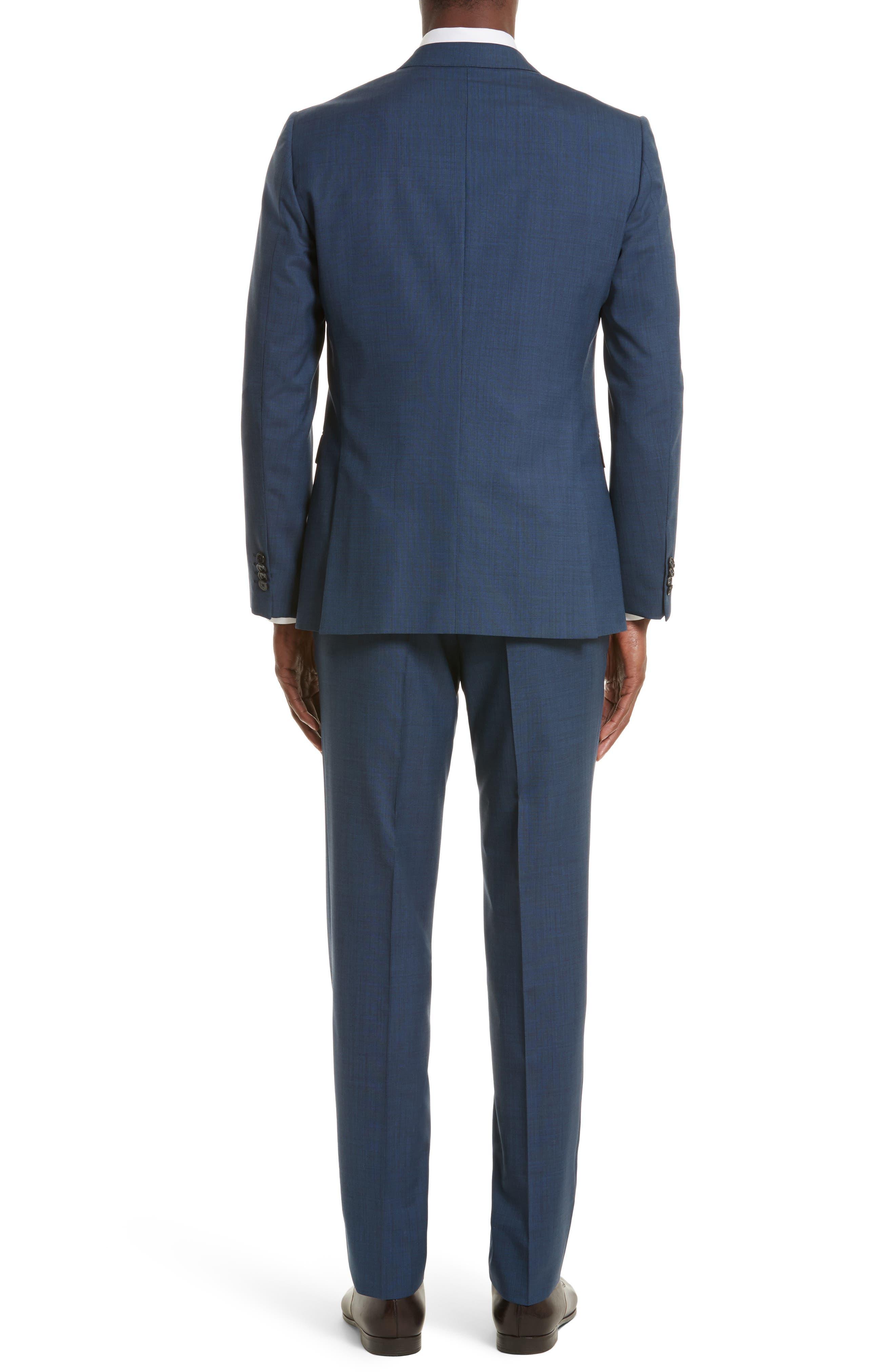 Drop 7 Trim Fit Solid Wool & Silk Suit,                             Alternate thumbnail 2, color,                             Navy