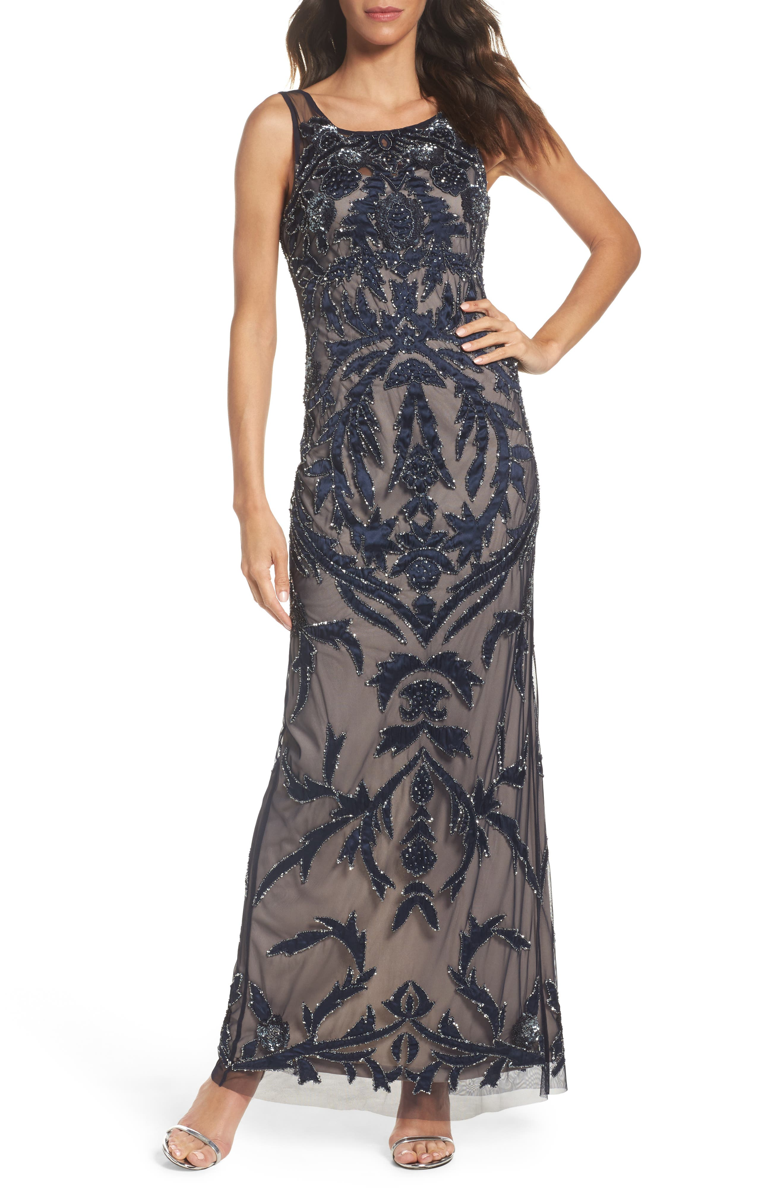 Embellished Column Gown,                         Main,                         color, Navy/ Silver