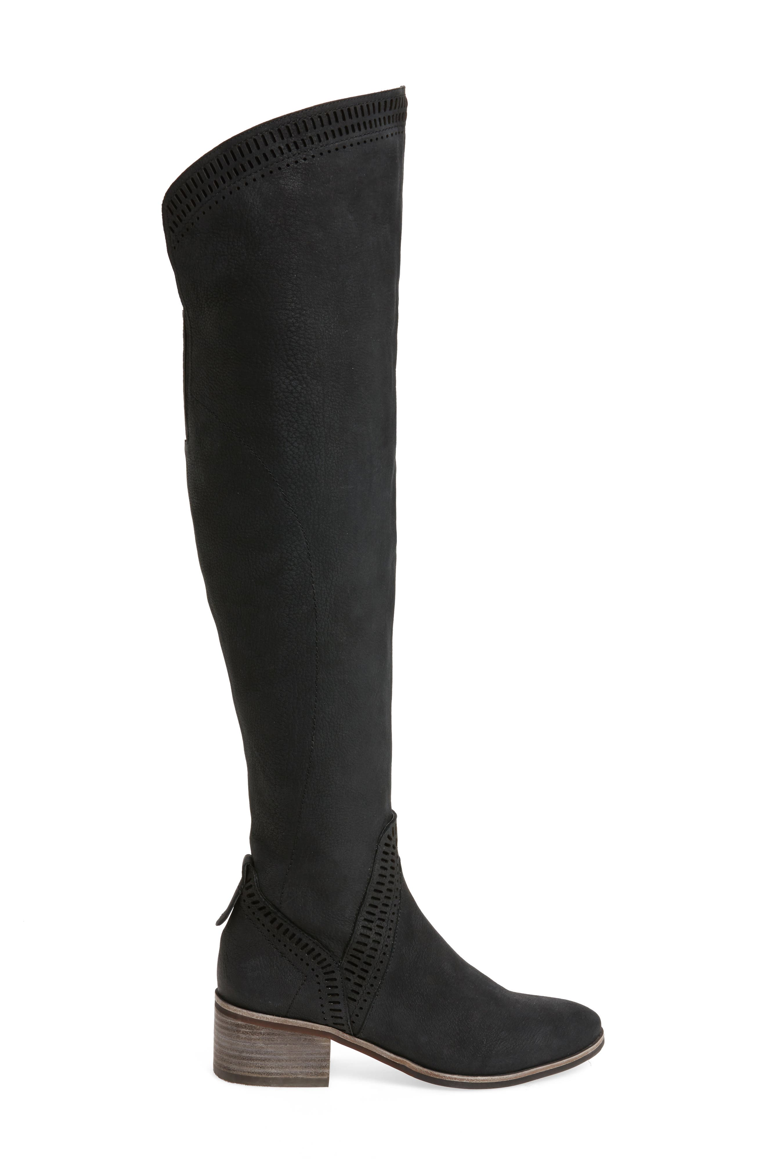 Karinda Over the Knee Boot,                             Alternate thumbnail 3, color,                             Black Leather Wide Calf