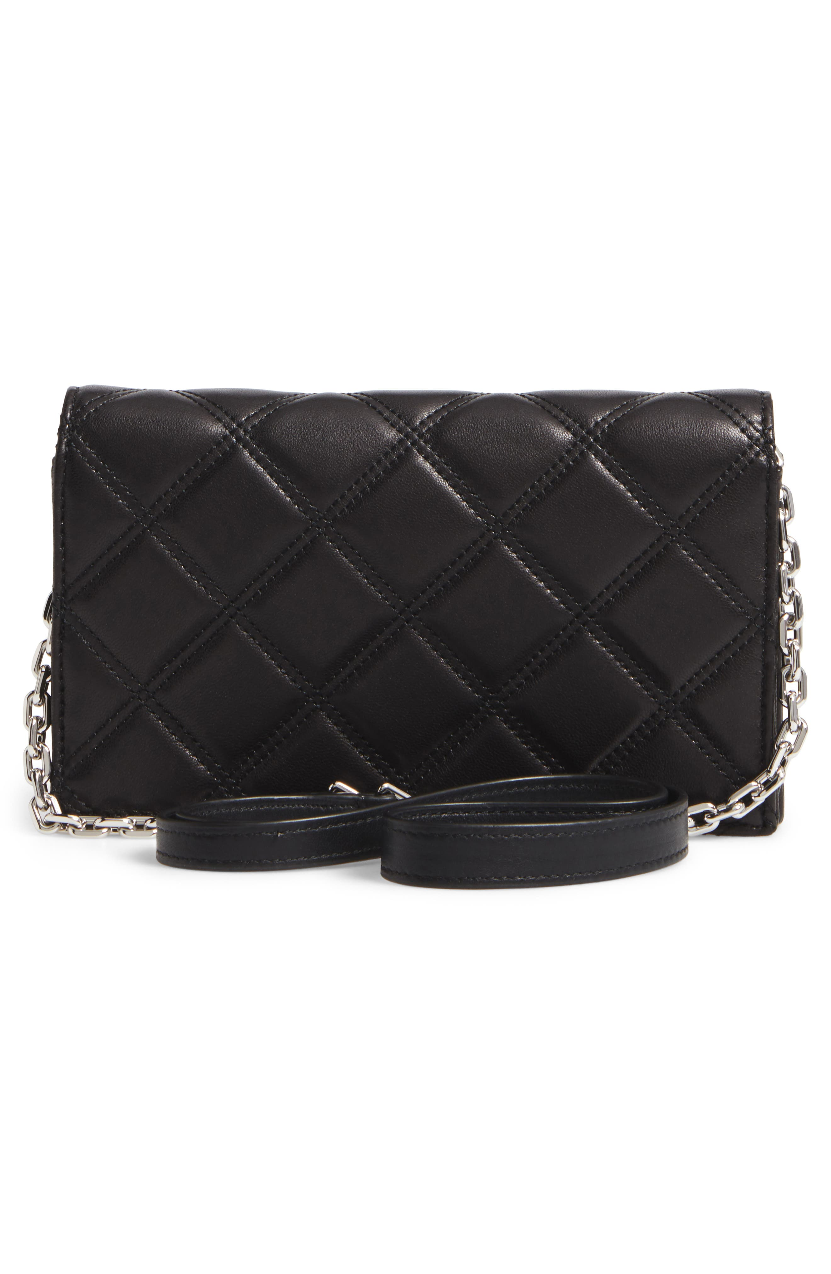 Quilted Leather Wallet on a Chain,                             Alternate thumbnail 3, color,                             Black