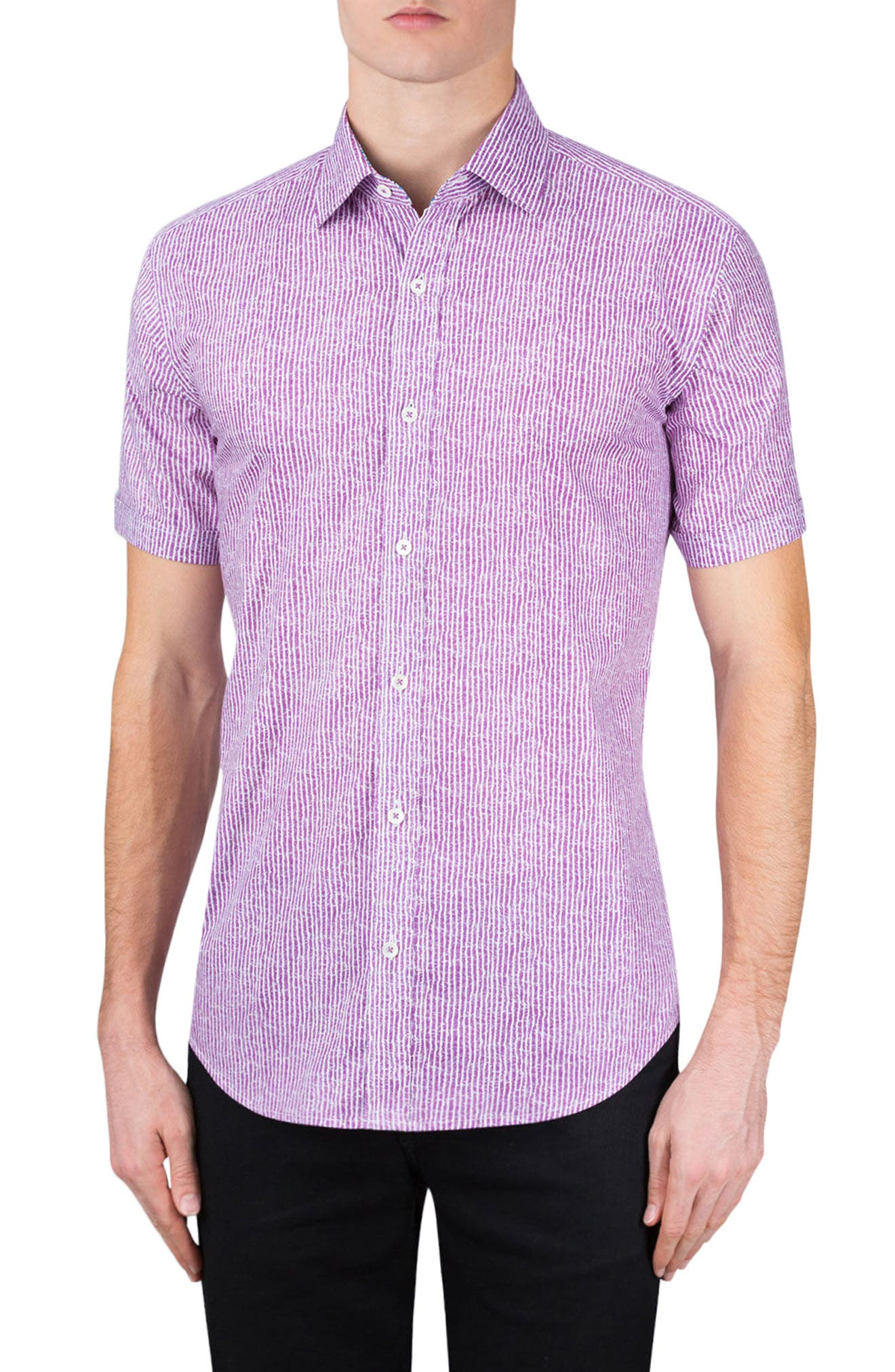 Shaped Fit Stripe Sport Shirt,                             Main thumbnail 1, color,                             Plum