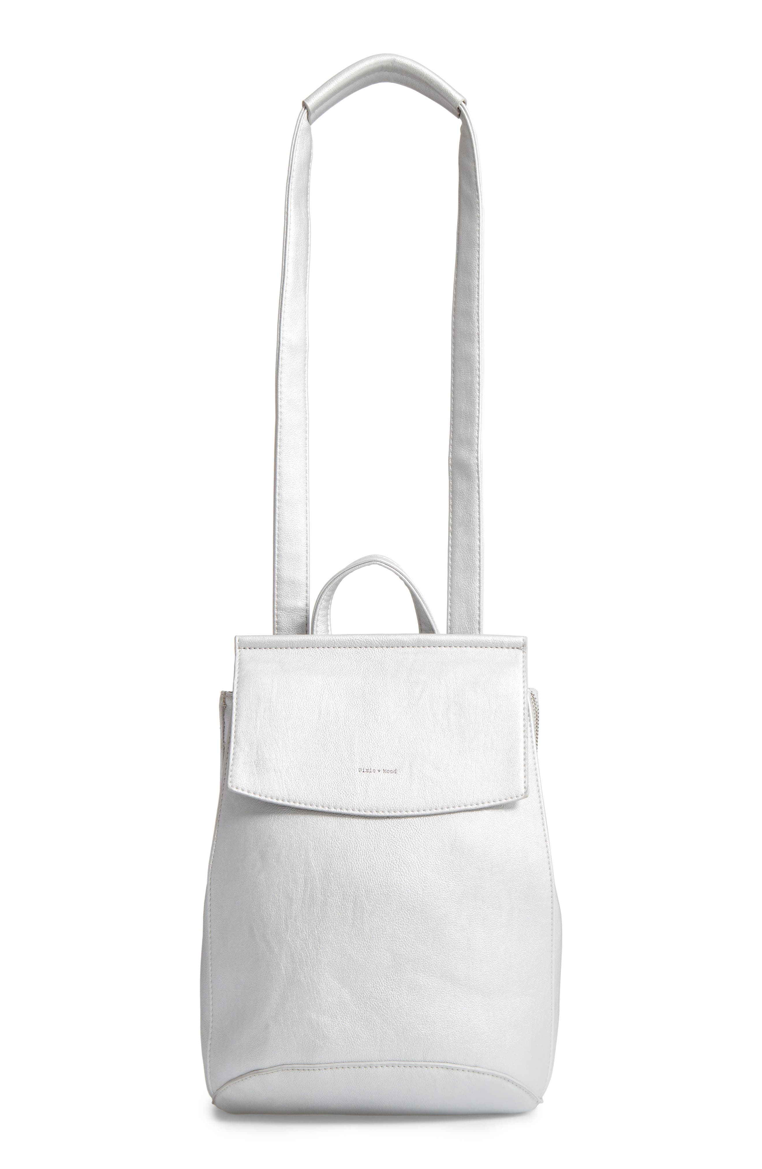 Faux Leather Convertible Backpack,                             Alternate thumbnail 3, color,                             Silver