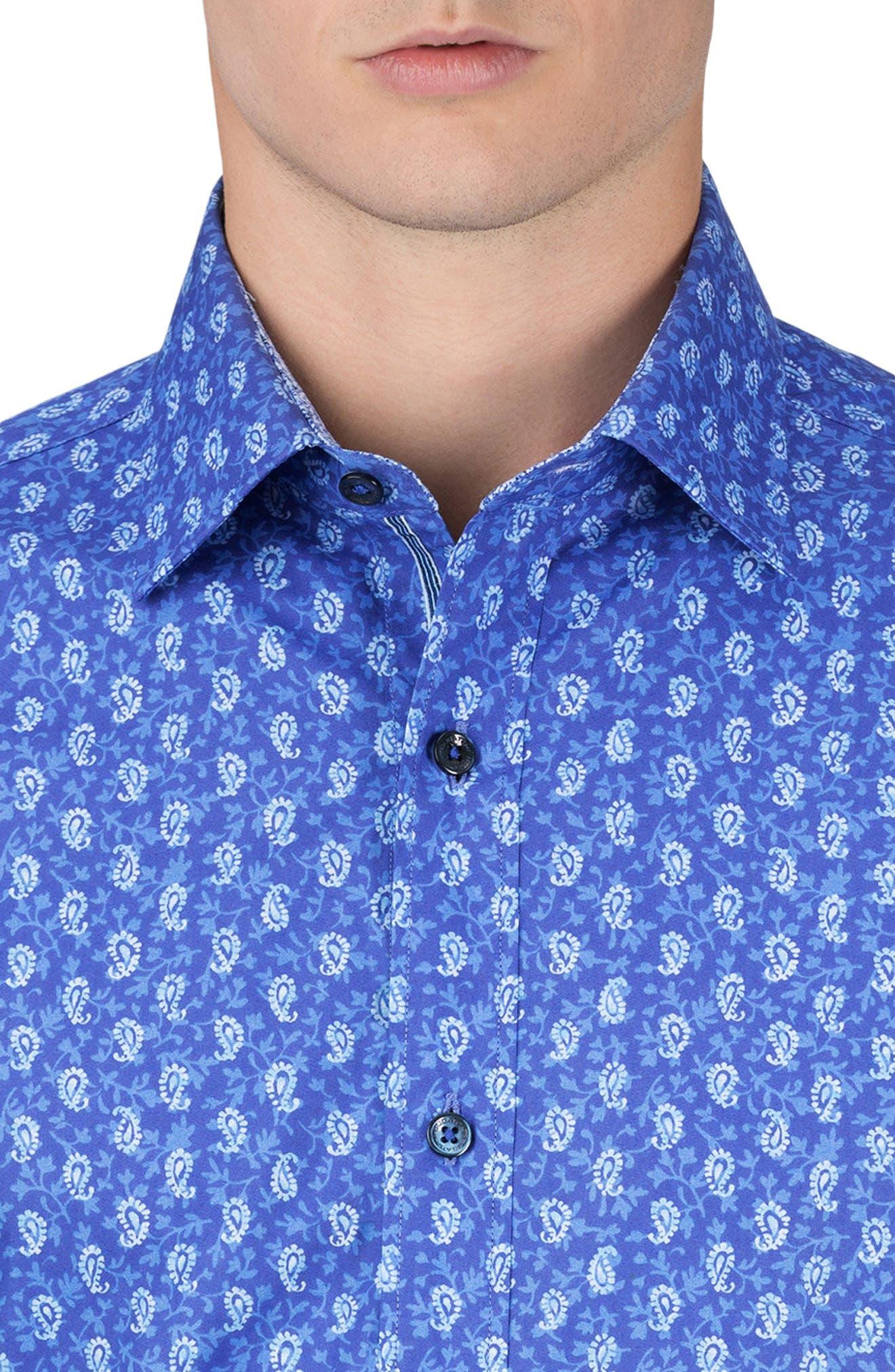 Shaped Fit Paisley Sport Shirt,                             Alternate thumbnail 3, color,                             Night Blue