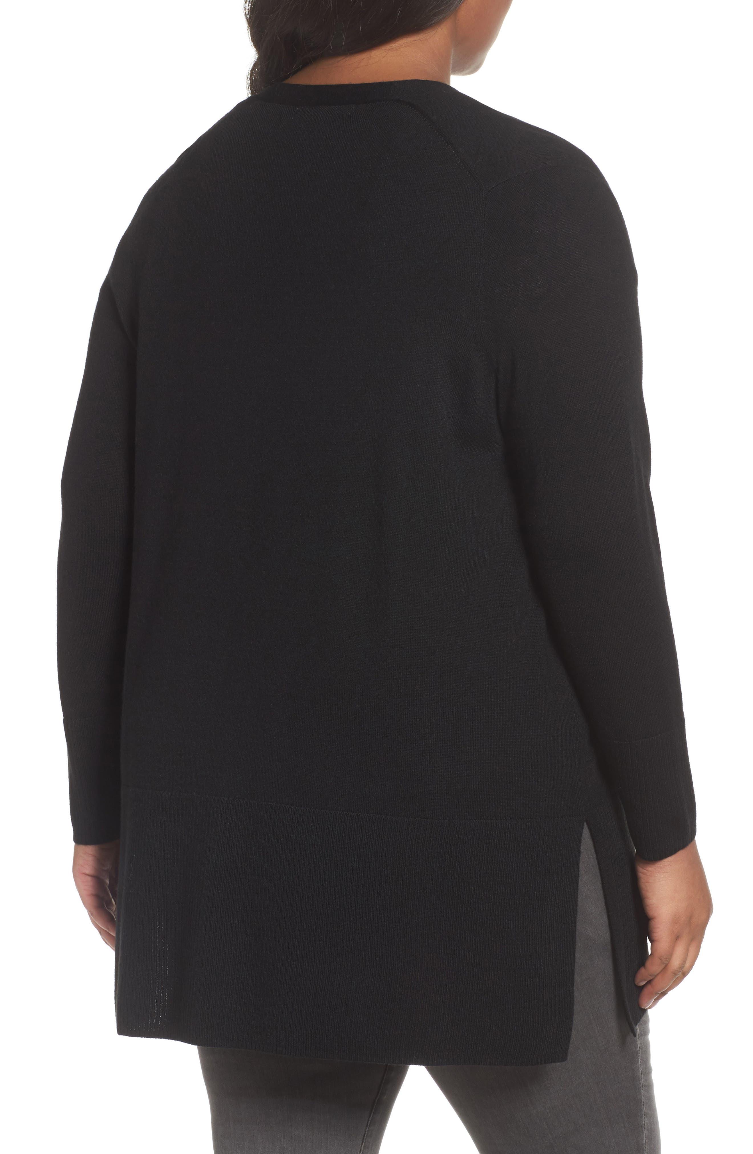 V-Neck Wool Blend Cardigan,                             Alternate thumbnail 2, color,                             Black