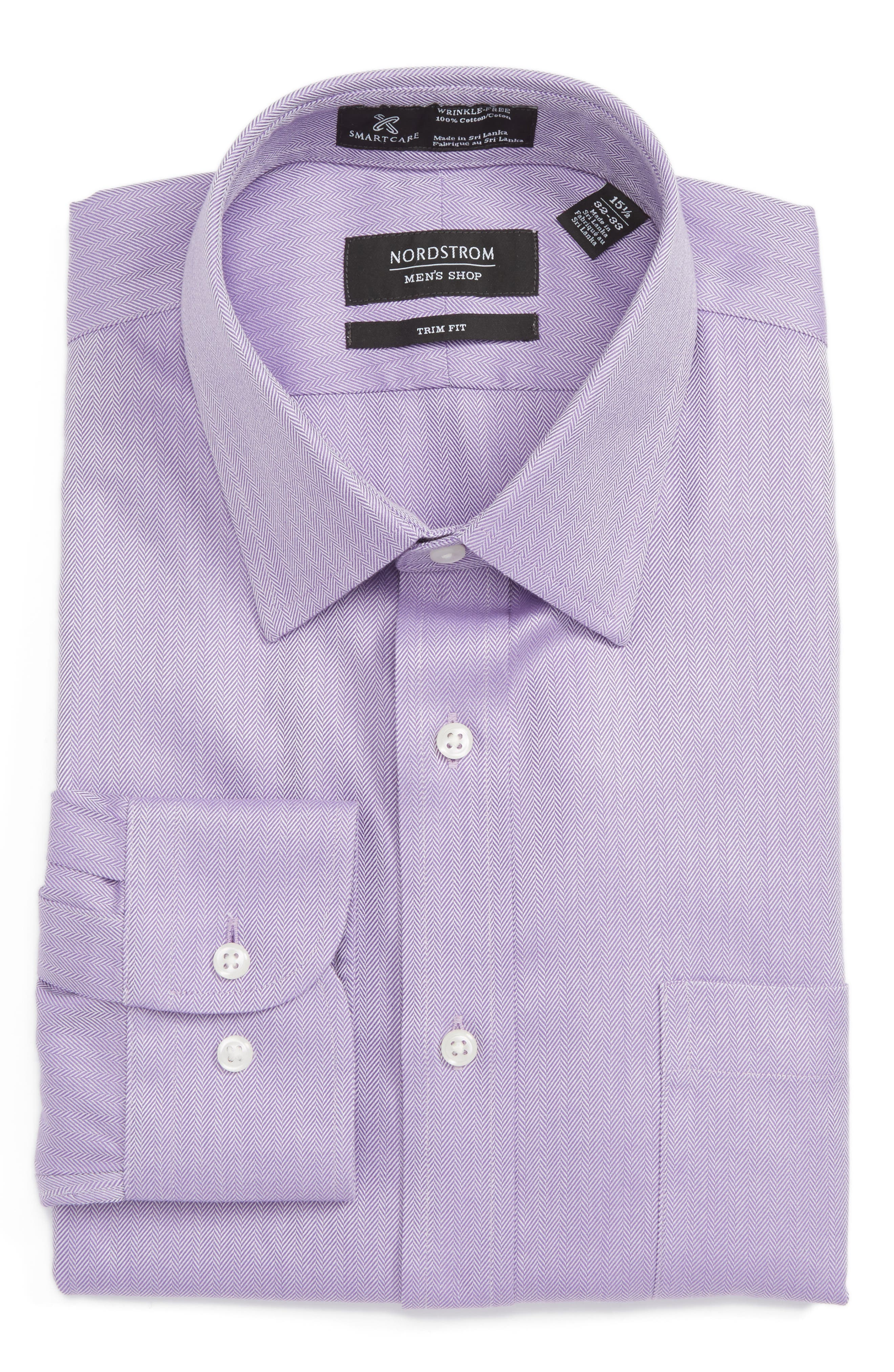Smartcare<sup>™</sup> Trim Fit Herringbone Dress Shirt,                         Main,                         color, Lavender