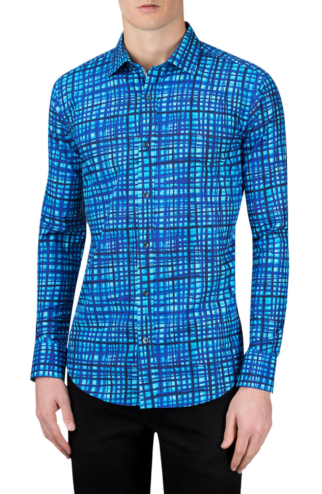 Shaped Fit Sport Shirt,                         Main,                         color, Turquoise