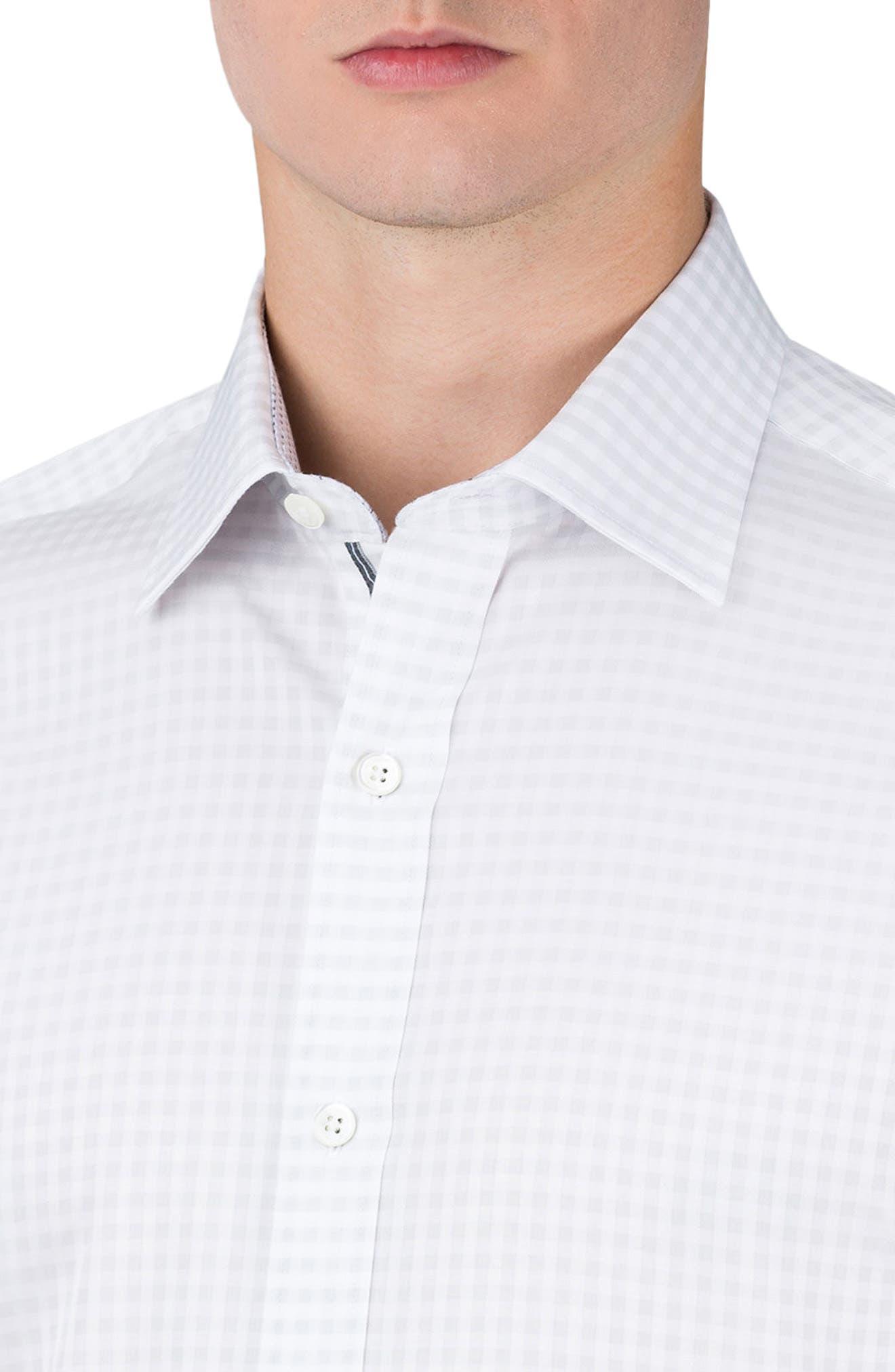 Classic Fit Check Sport Shirt,                             Alternate thumbnail 3, color,                             White