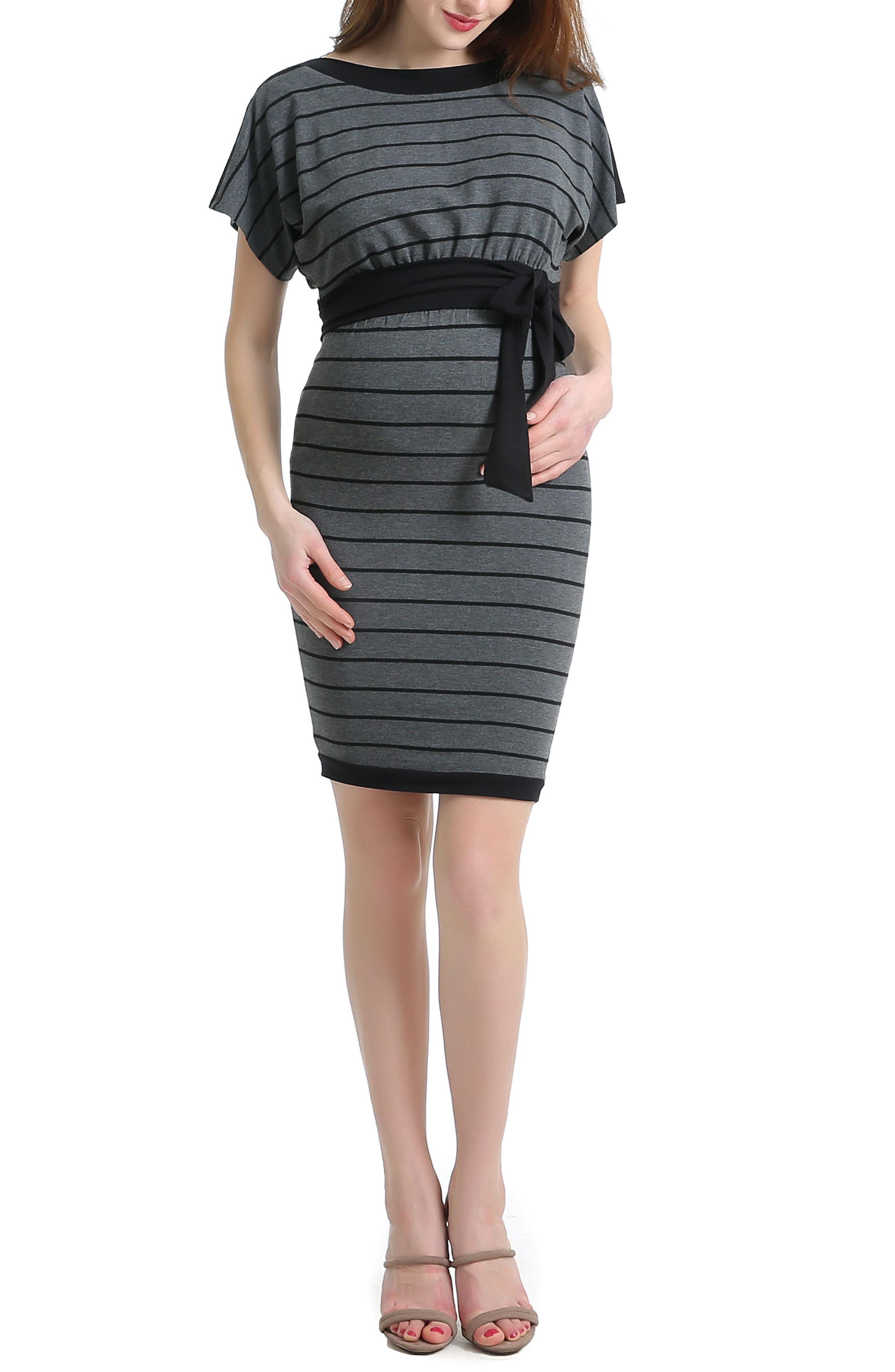 Anna Stretch Maternity Dress,                             Main thumbnail 1, color,                             Black/ Gray