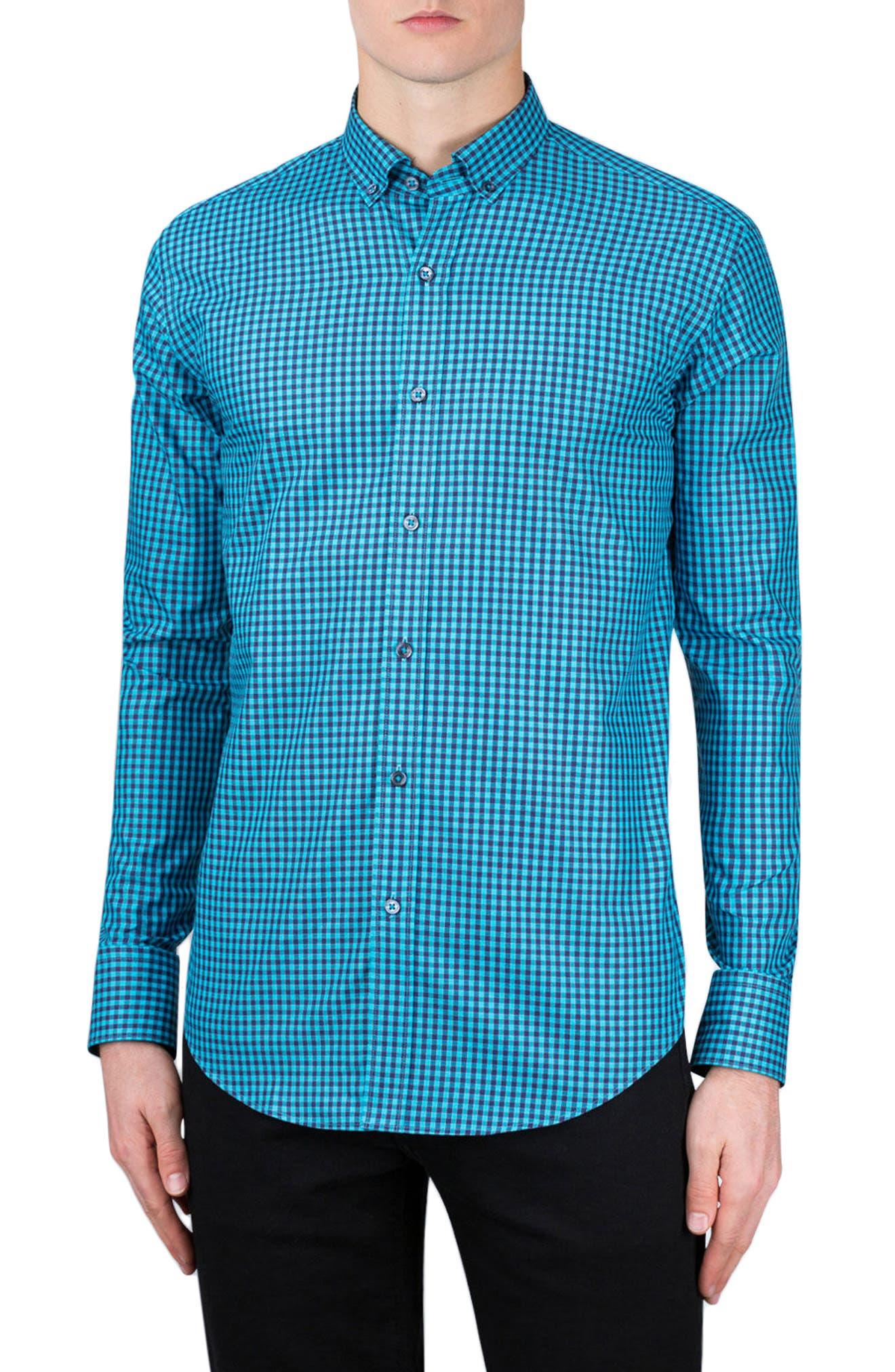 Shaped Fit Gingham Sport Shirt,                         Main,                         color, Turquoise
