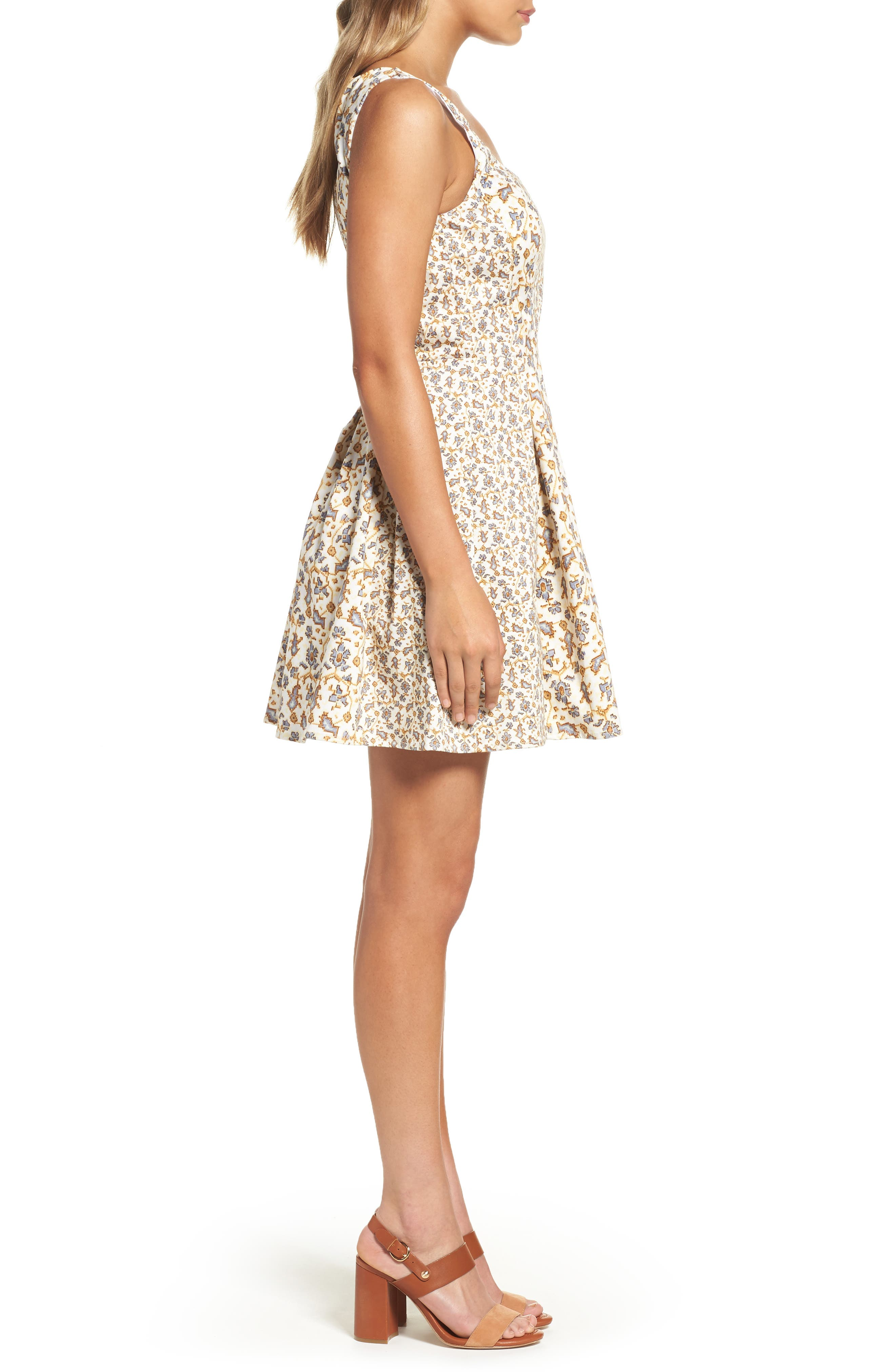 Niko Fit & Flare Dress,                             Alternate thumbnail 3, color,                             Summer White Multi