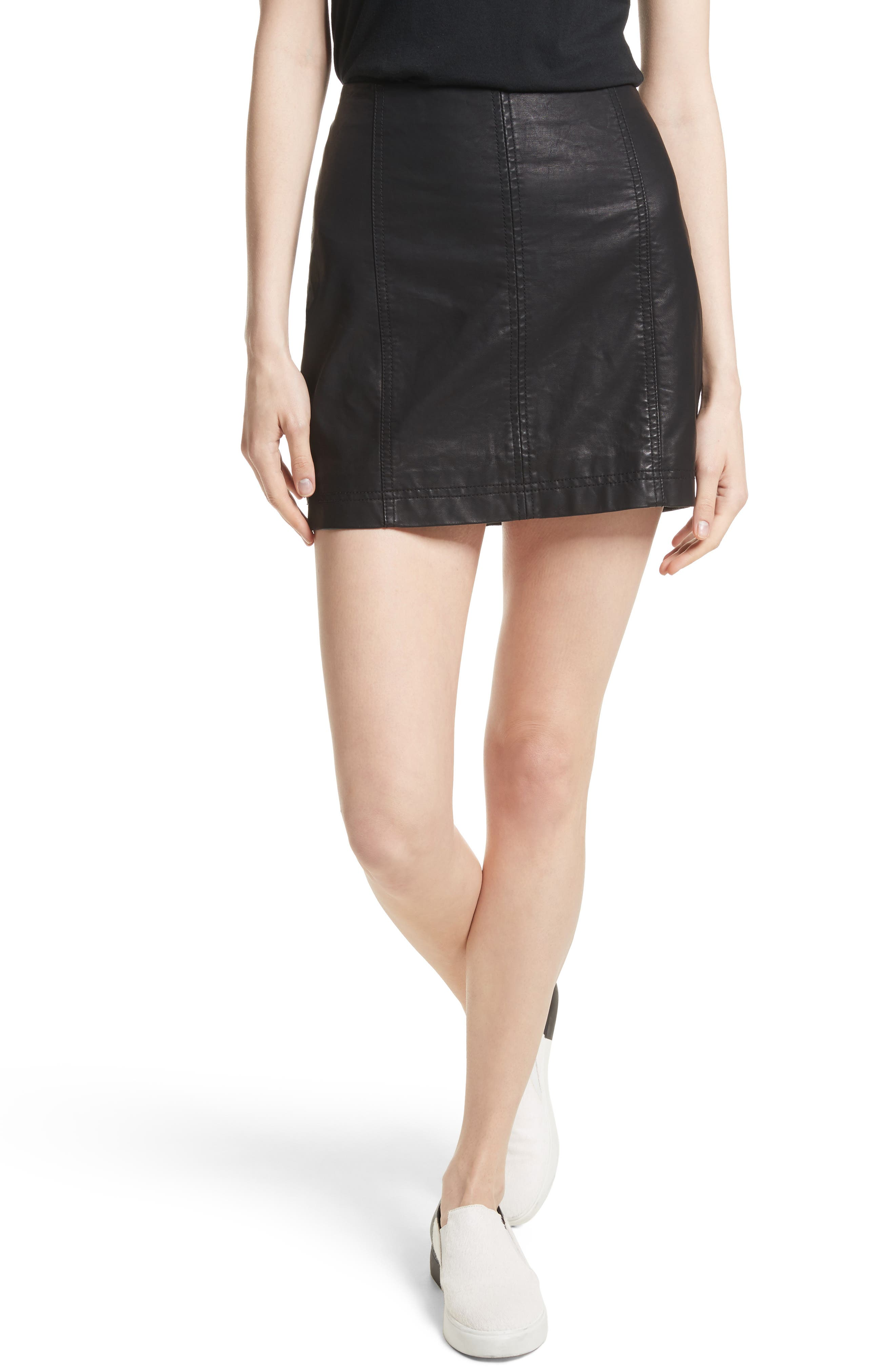 Modern Femme Faux Leather Miniskirt,                             Main thumbnail 1, color,                             Black