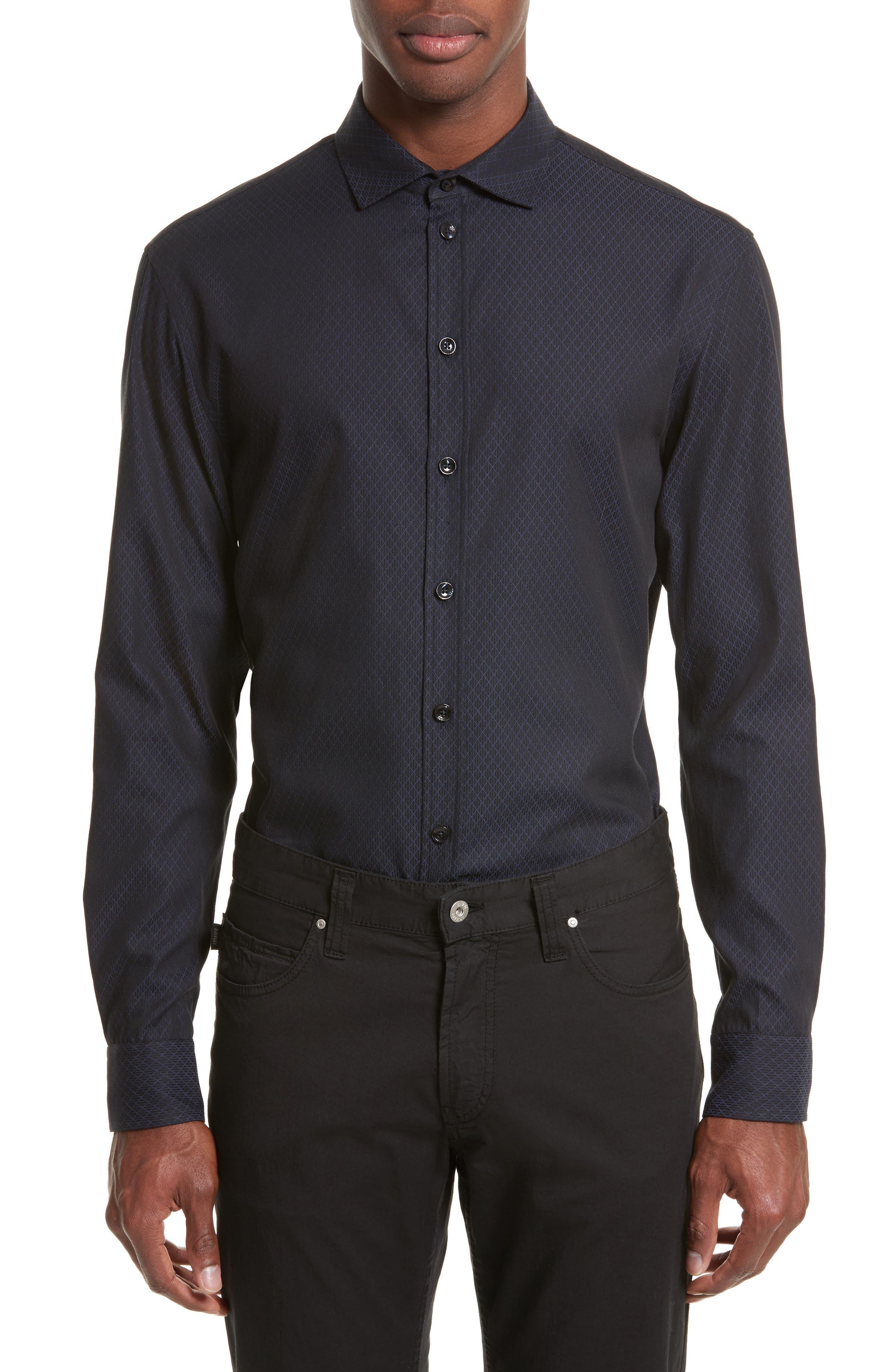 Regular Fit Diamond Woven Sport Shirt,                         Main,                         color, Fancy Blue Tone