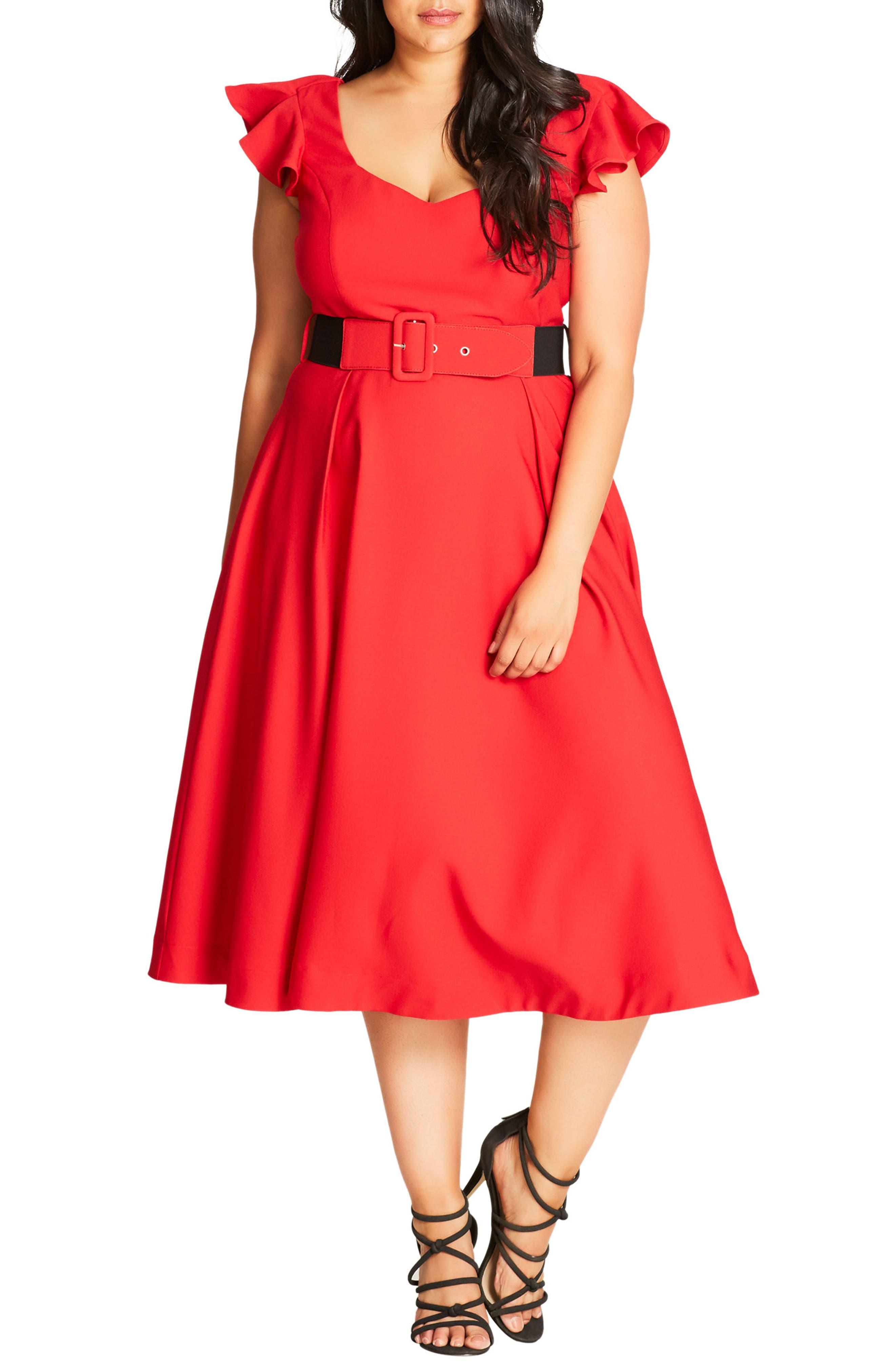 City Chic Flirty Flutter Ruffle Dress (Plus Size)