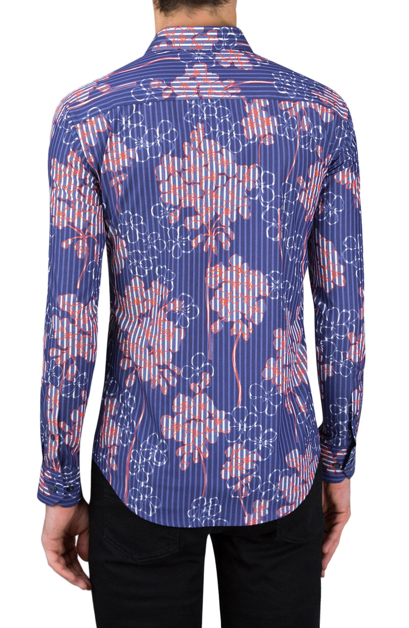 Alternate Image 2  - Bugatchi Shaped Fit Floral Stripe Sport Shirt