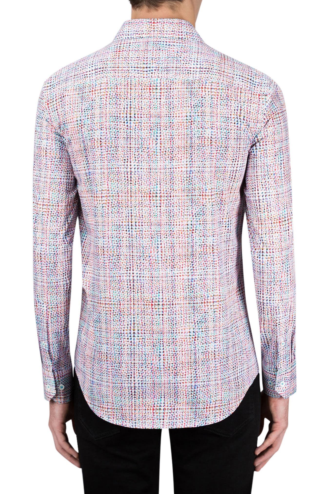 Shaped Fit Geo Print Sport Shirt,                             Alternate thumbnail 3, color,                             Candy