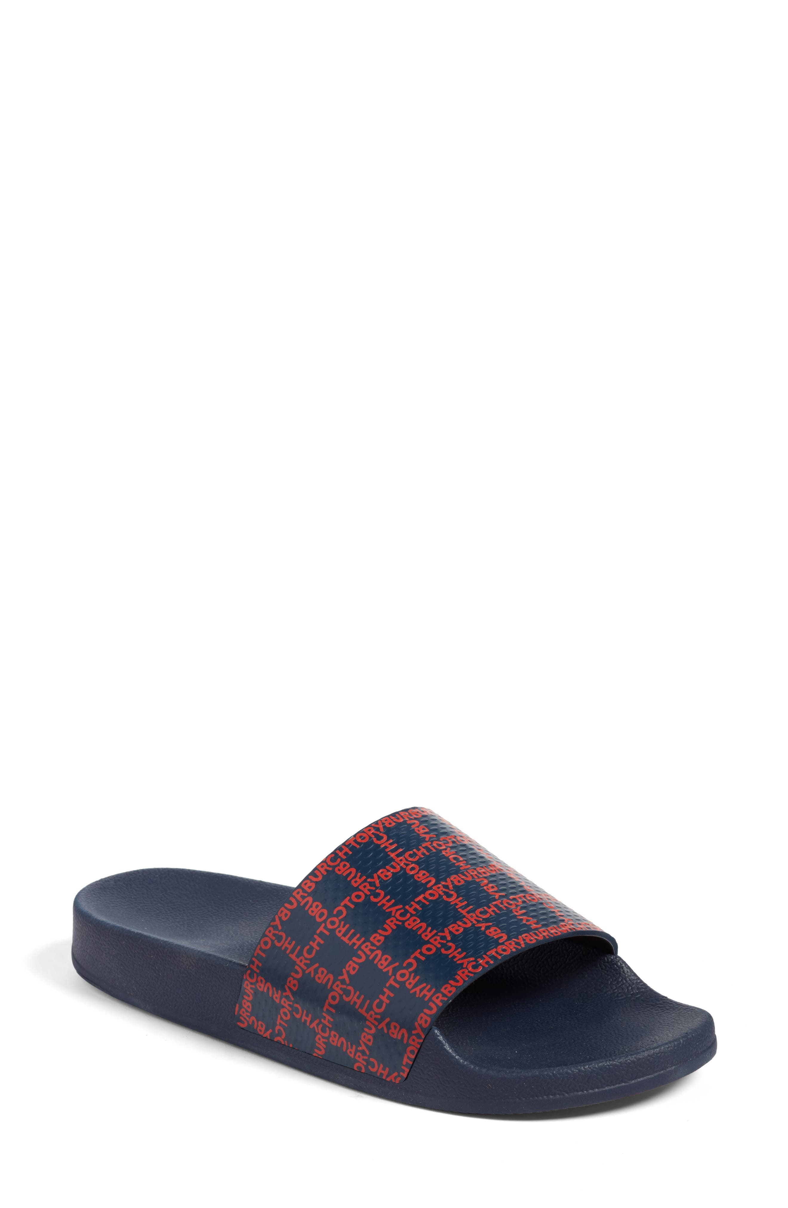 Stormy Slide Sandal,                         Main,                         color, Tory Navy/ Tory Red