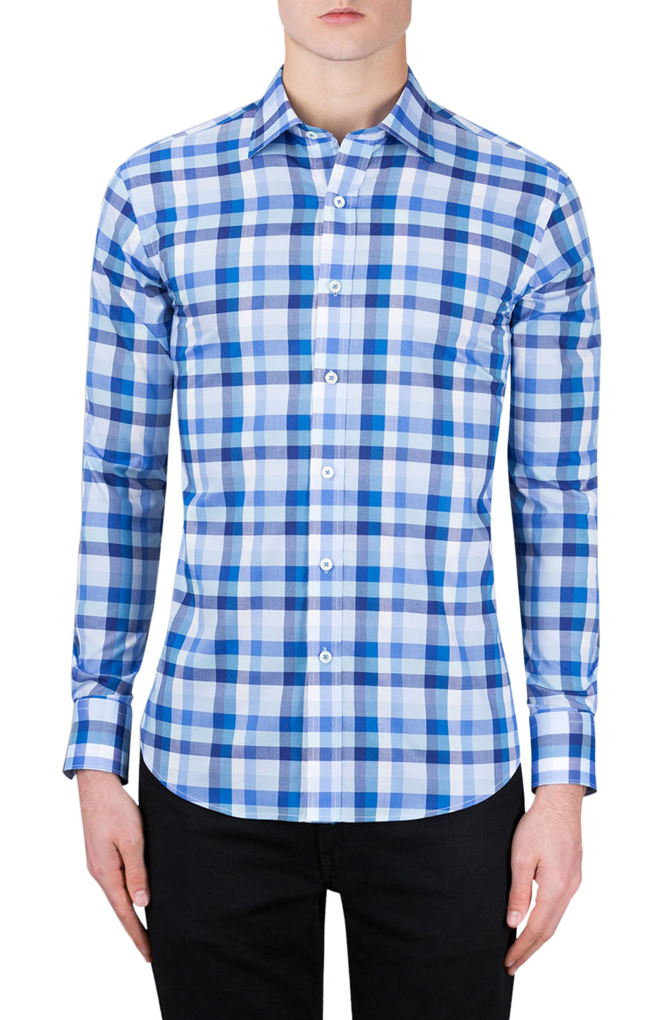 Classic Fit Check Sport Shirt,                         Main,                         color, Classic Blue