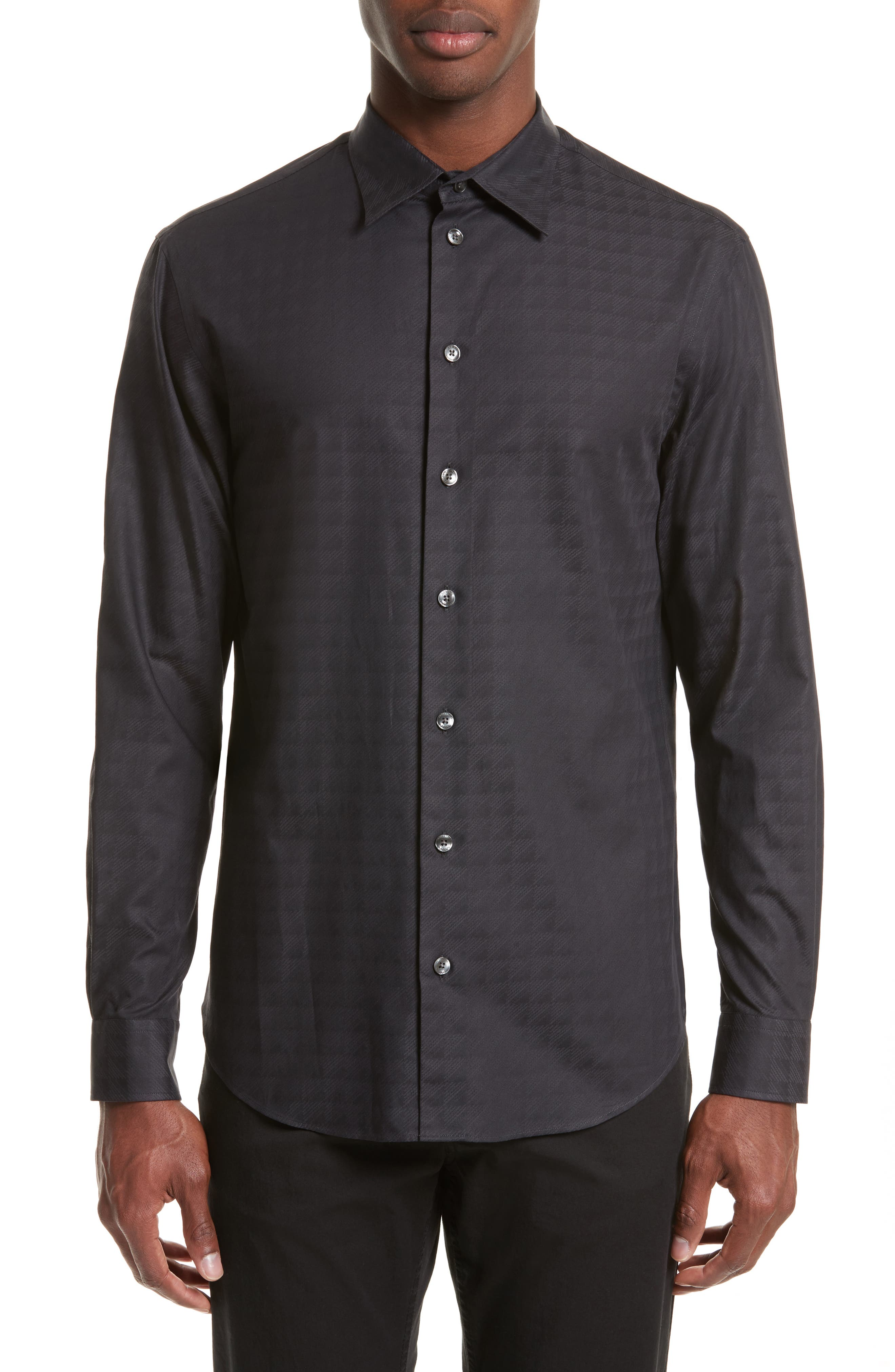 Regular Fit Geo Print Sport Shirt,                         Main,                         color, Fancy Black
