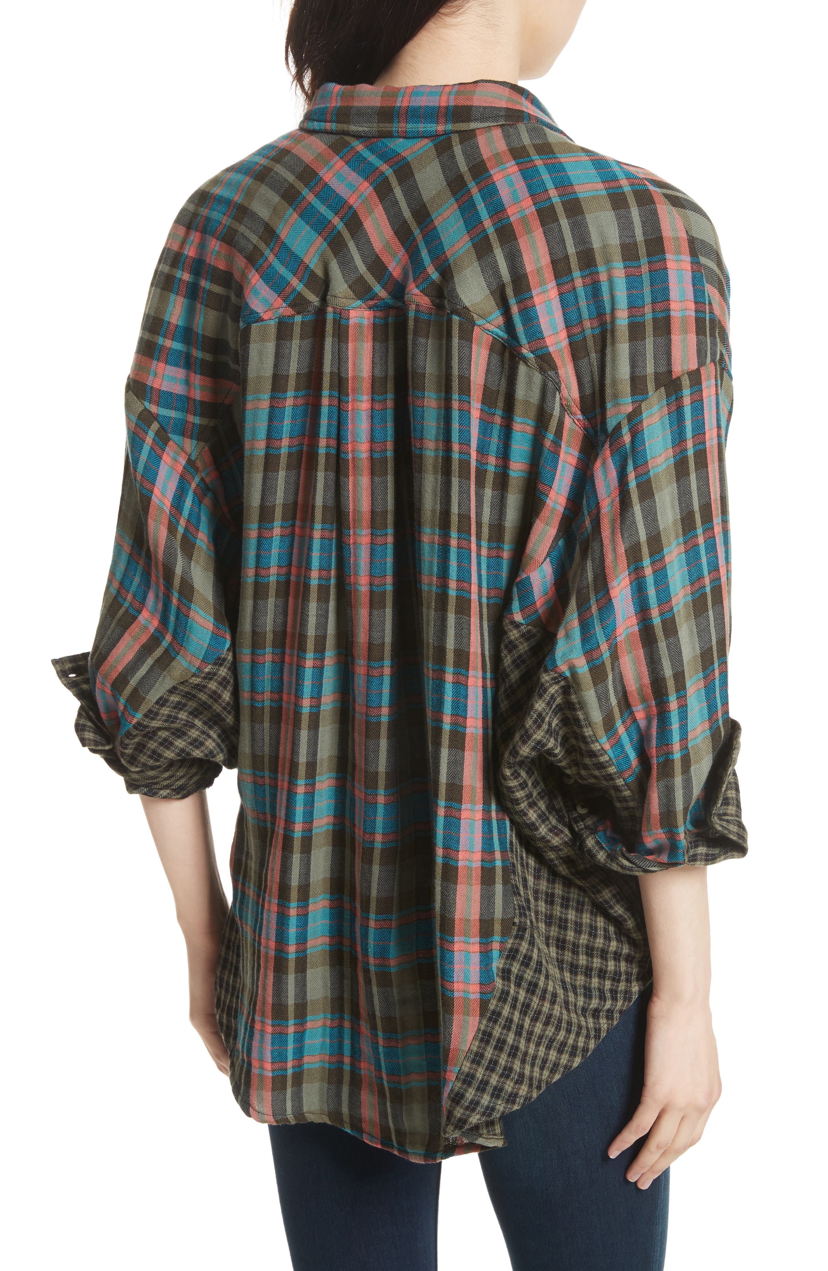 One of the Guys Plaid Shirt,                             Alternate thumbnail 2, color,                             Green Combo