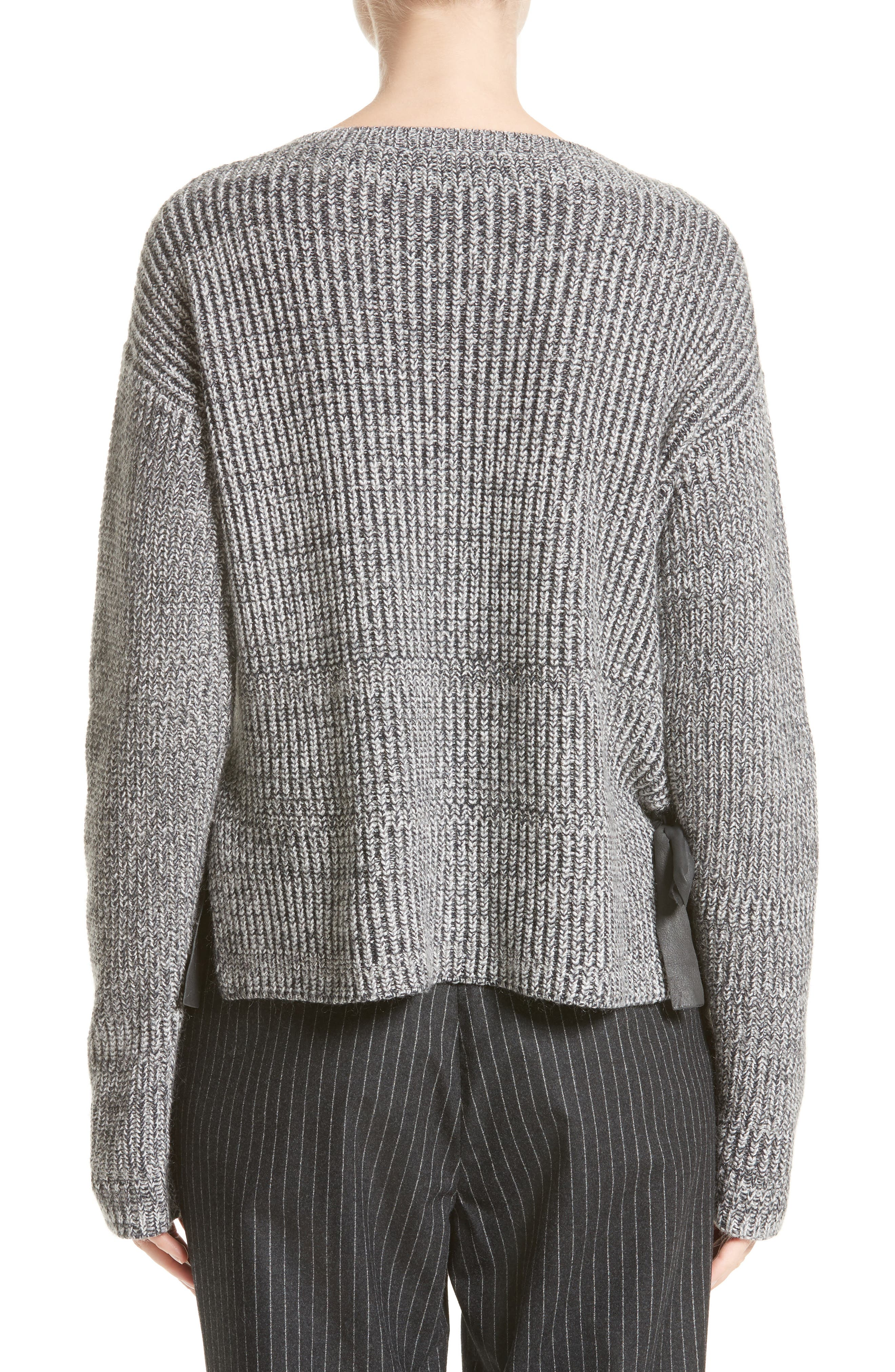 Herringbone Stitch Wool Blend Sweater,                             Alternate thumbnail 2, color,                             Grey Multi