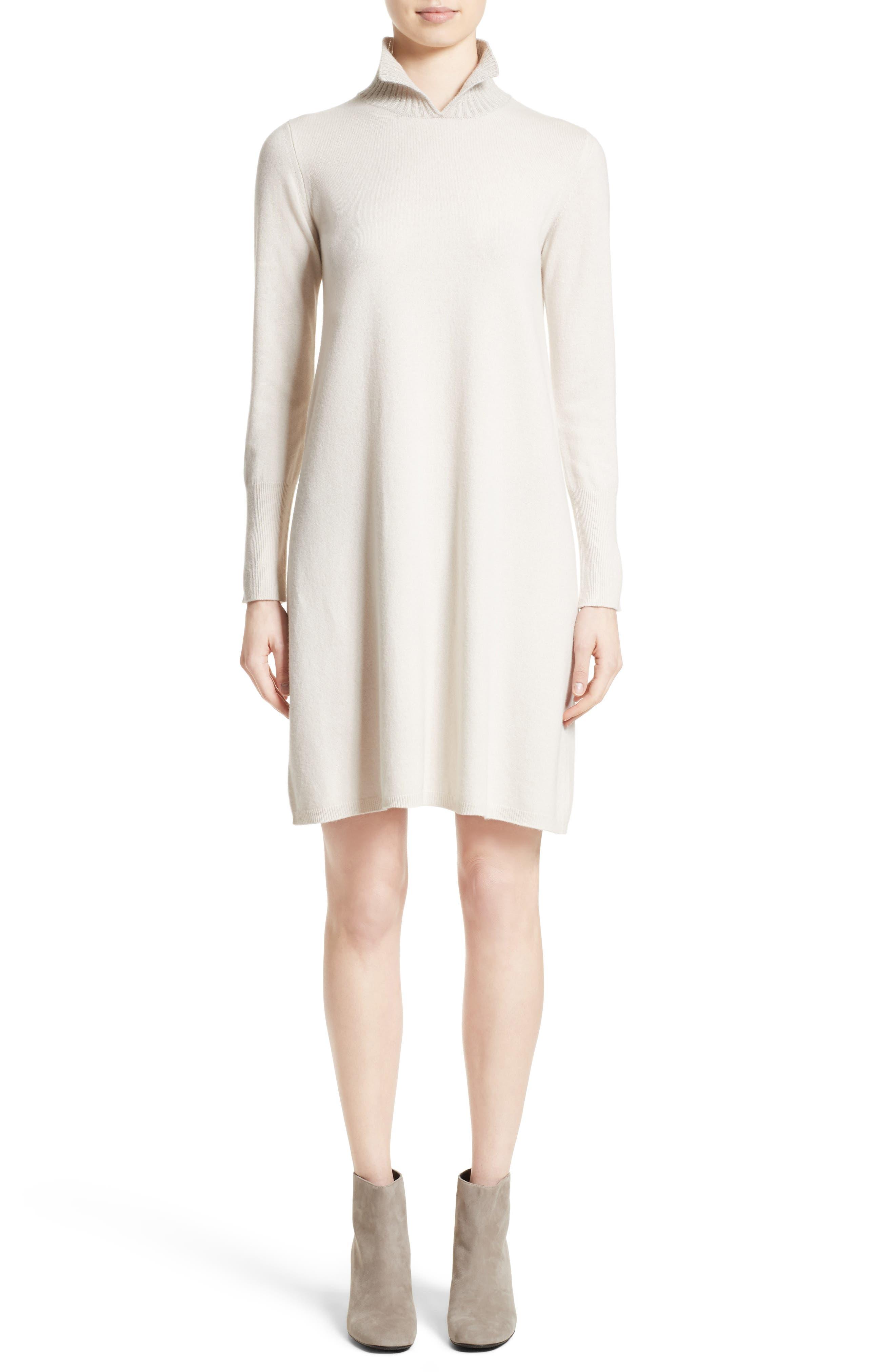 Wool, Silk & Cashmere Knit Dress,                         Main,                         color, Cream