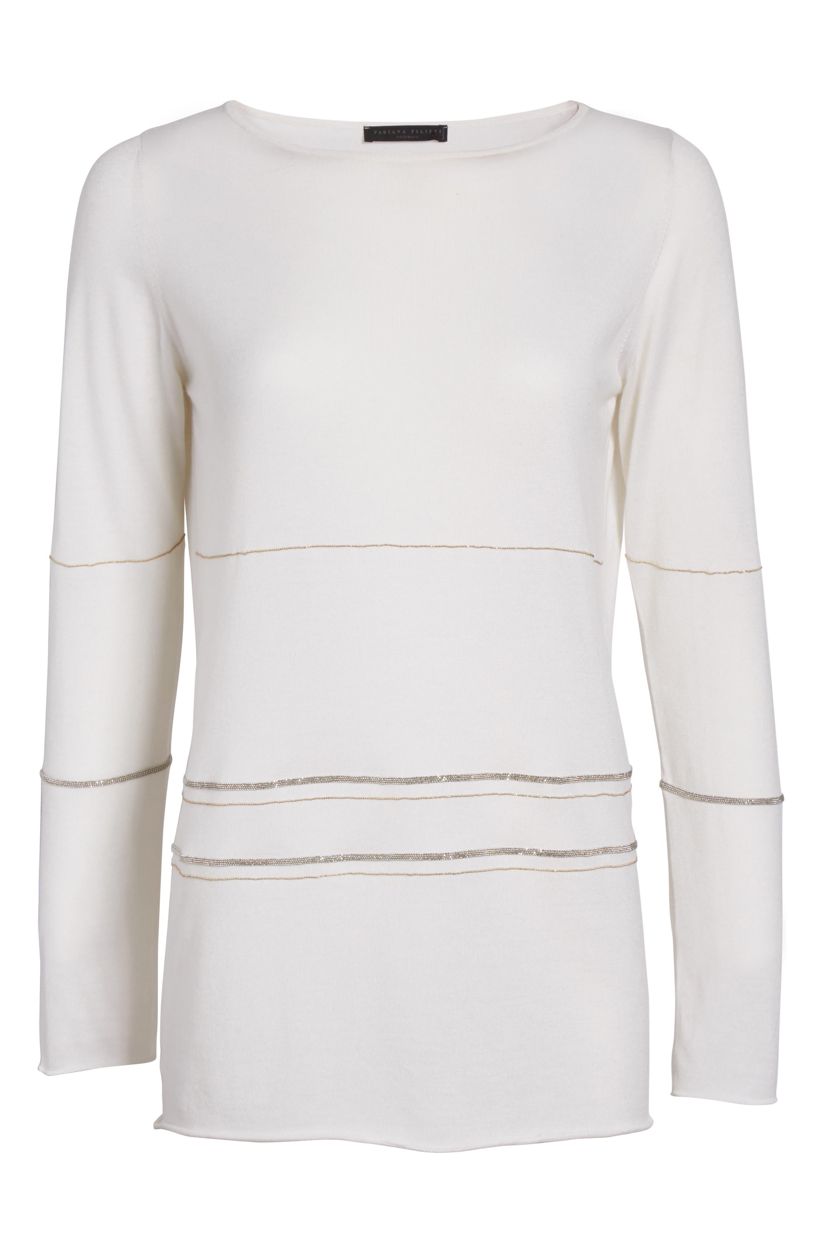 Alternate Image 4  - Fabiana Filippi Metallic Trim Cashmere & Silk Sweater