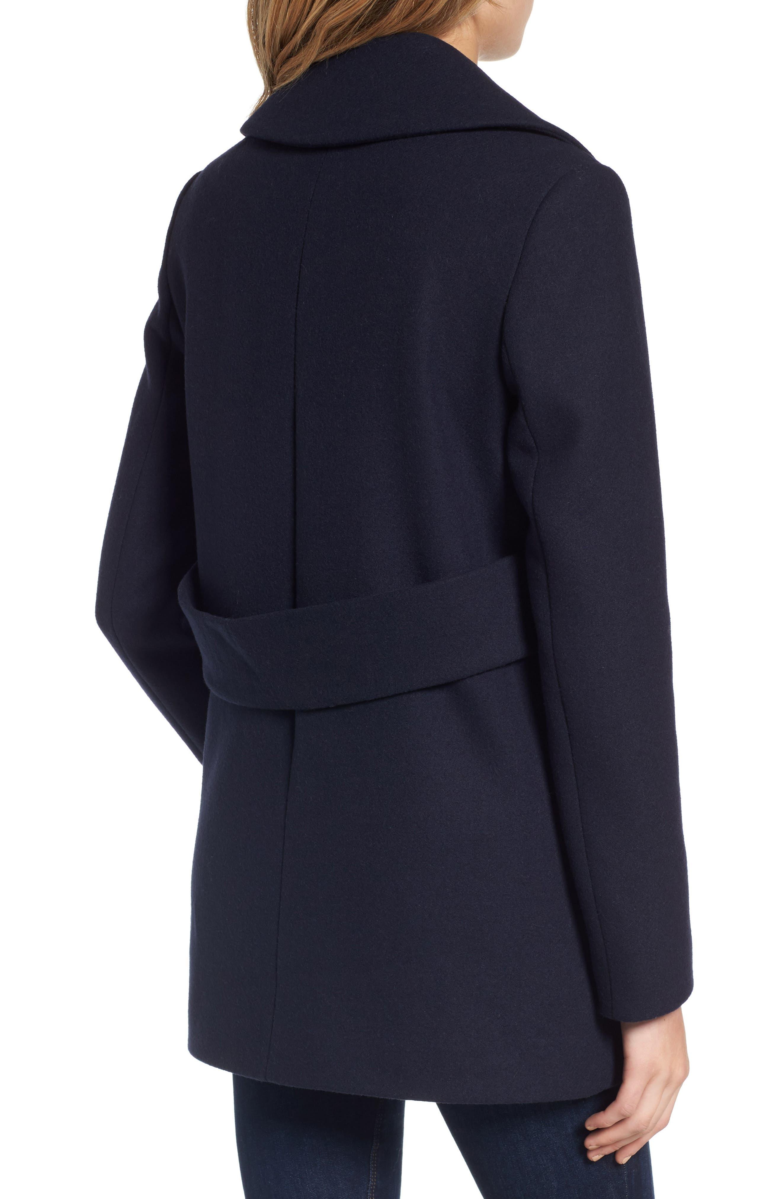 Alternate Image 2  - French Connection Back Belt Wool Blend Peacoat