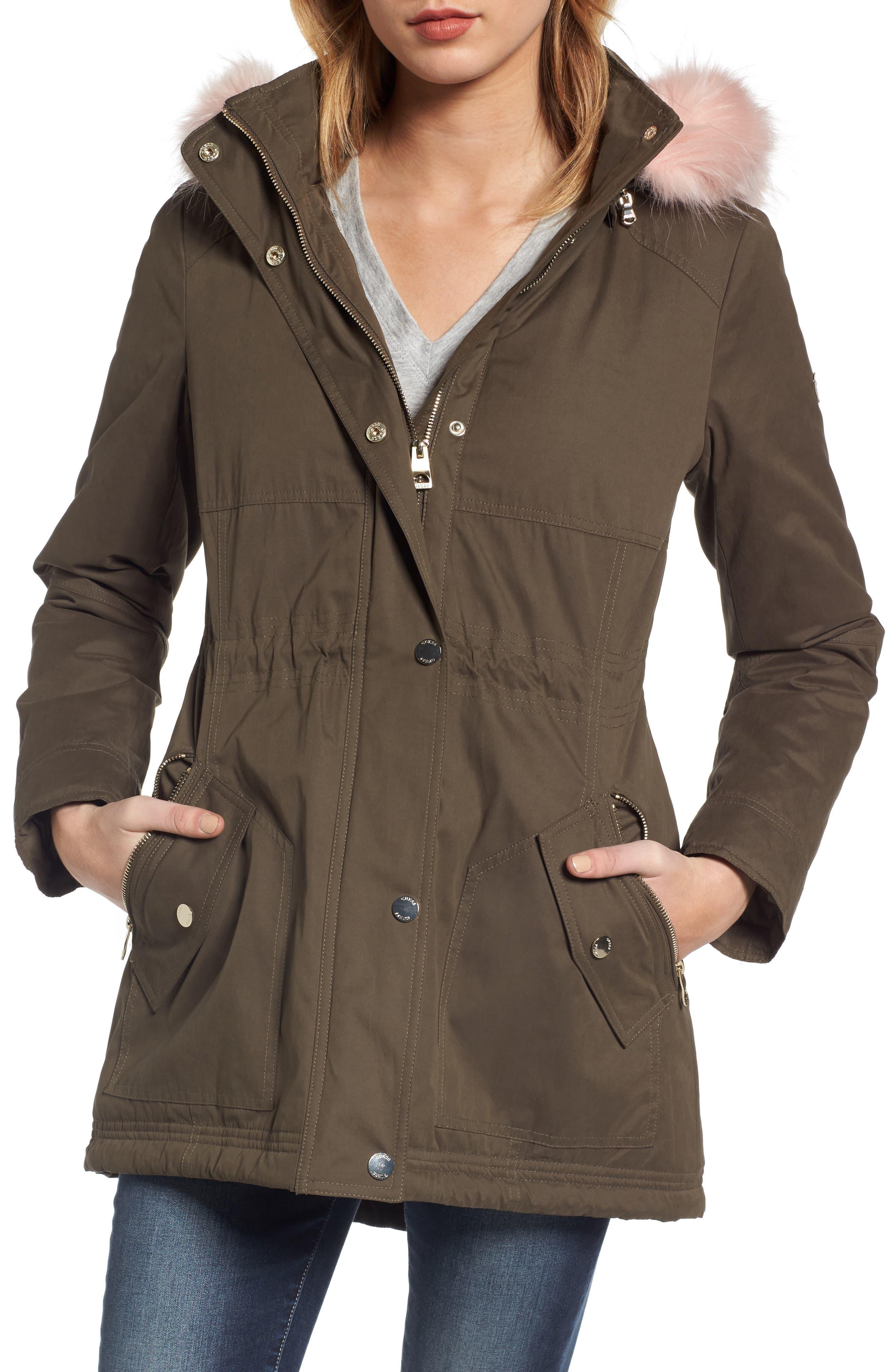 Parka with Removable Faux Fur Trim Hood,                             Main thumbnail 1, color,                             Olive/ Pink Fur