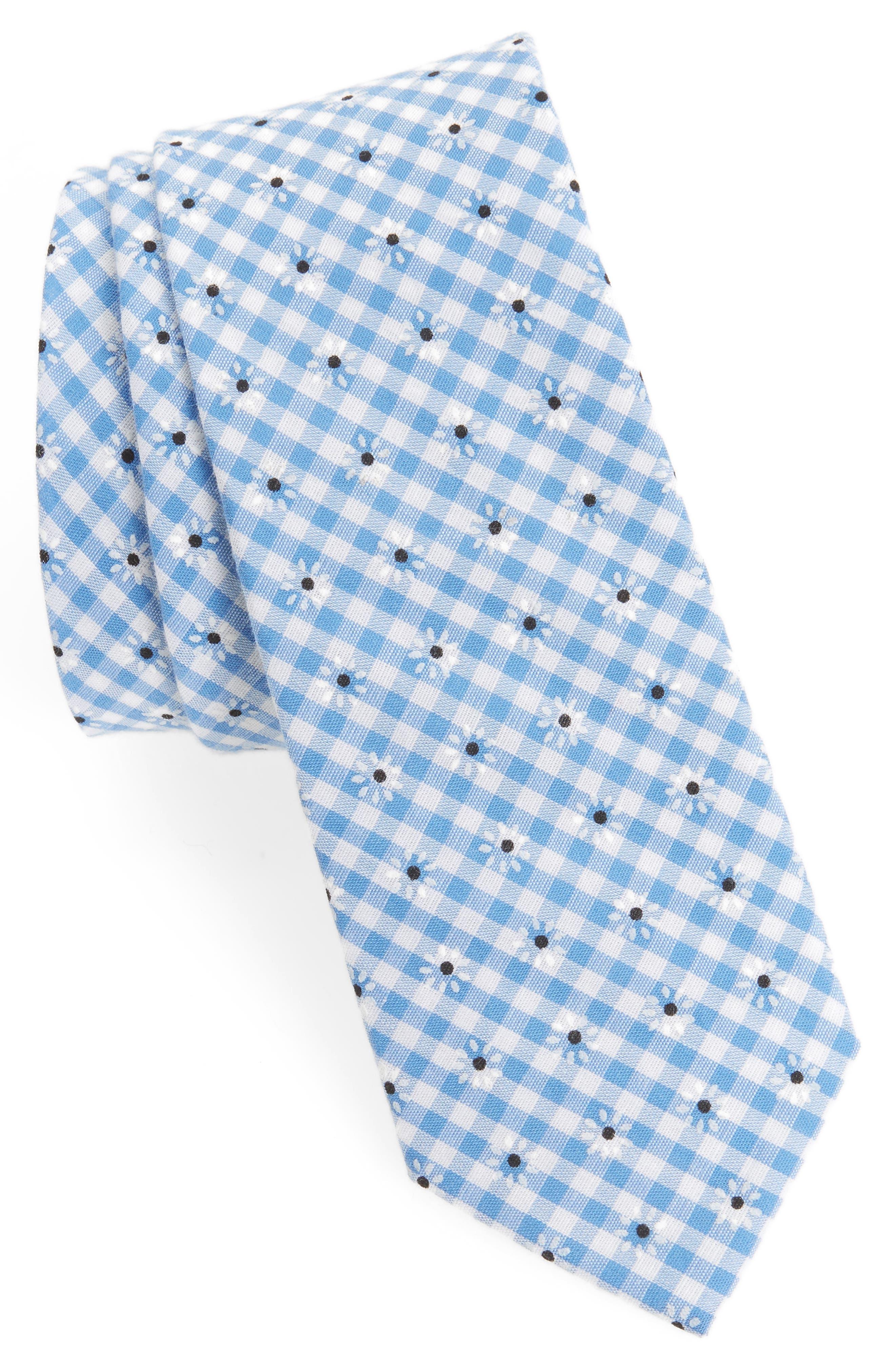 Flower & Gingham Cotton Tie,                         Main,                         color, Light Blue