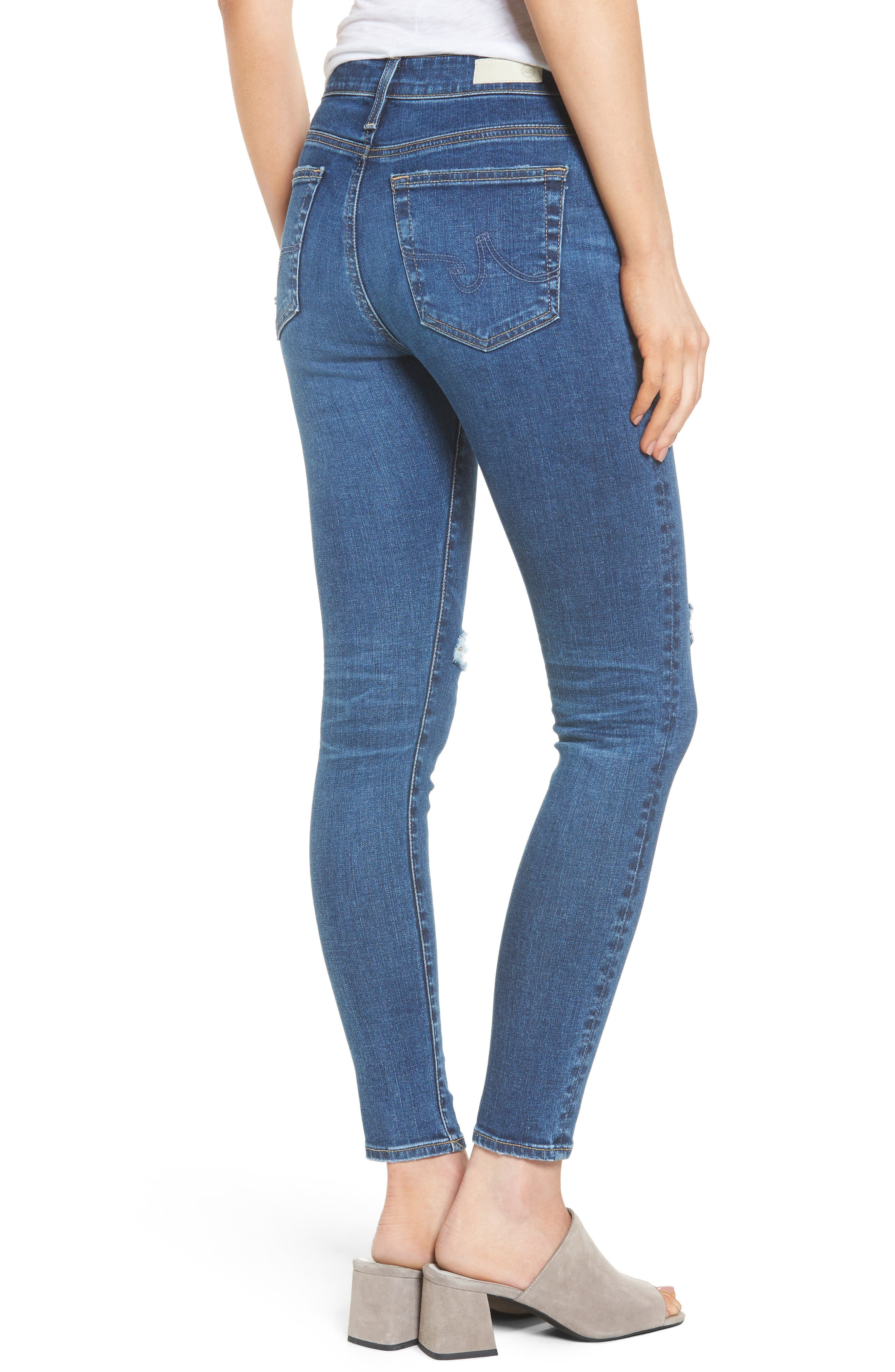 Alternate Image 2  - AG The Farrah High Waist Ankle Skinny Jeans (13 Years Day Break Destroyed)