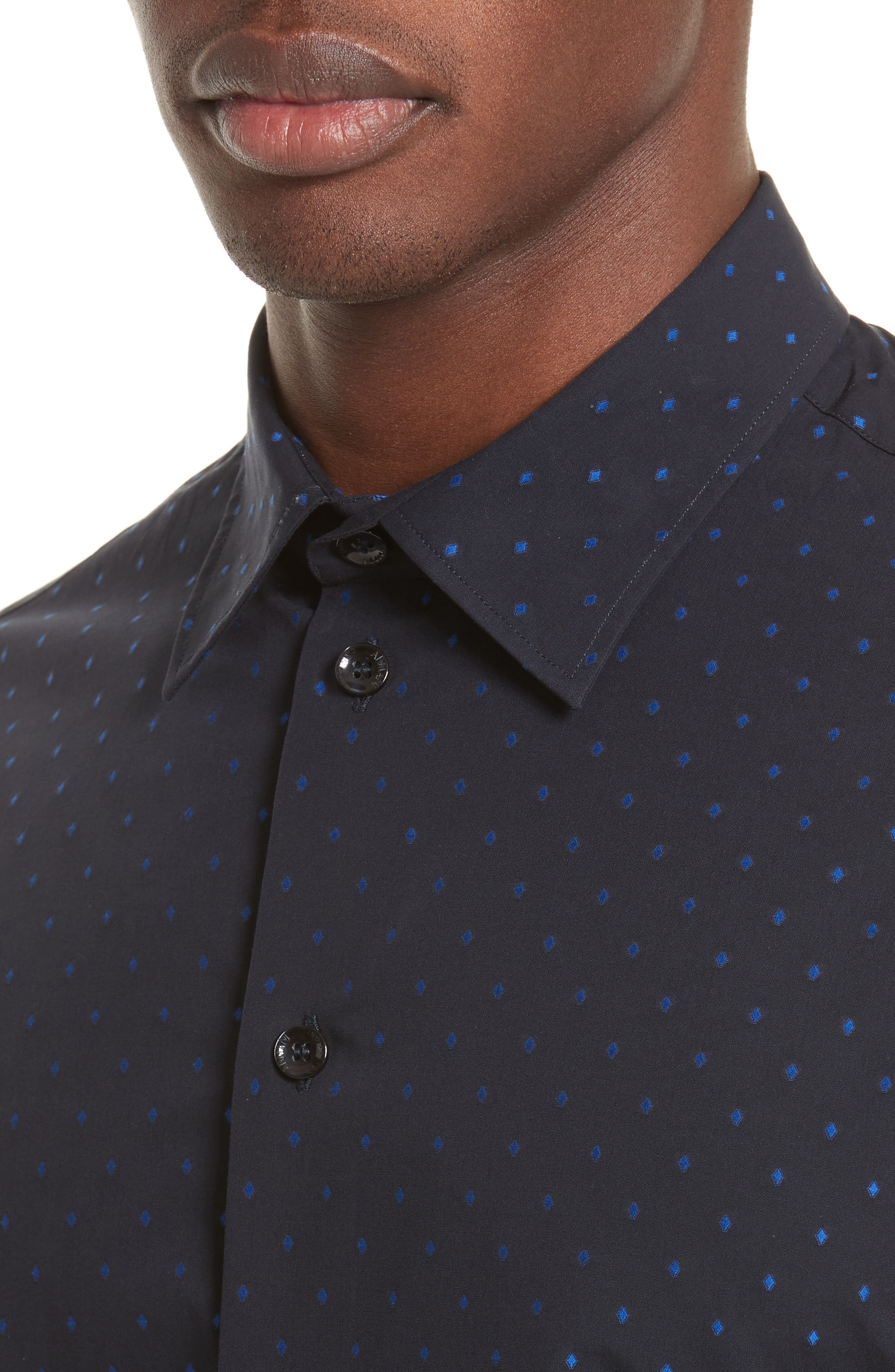 Alternate Image 4  - Armani Collezioni Fil Coupe Diamond Jacquard Sport Shirt