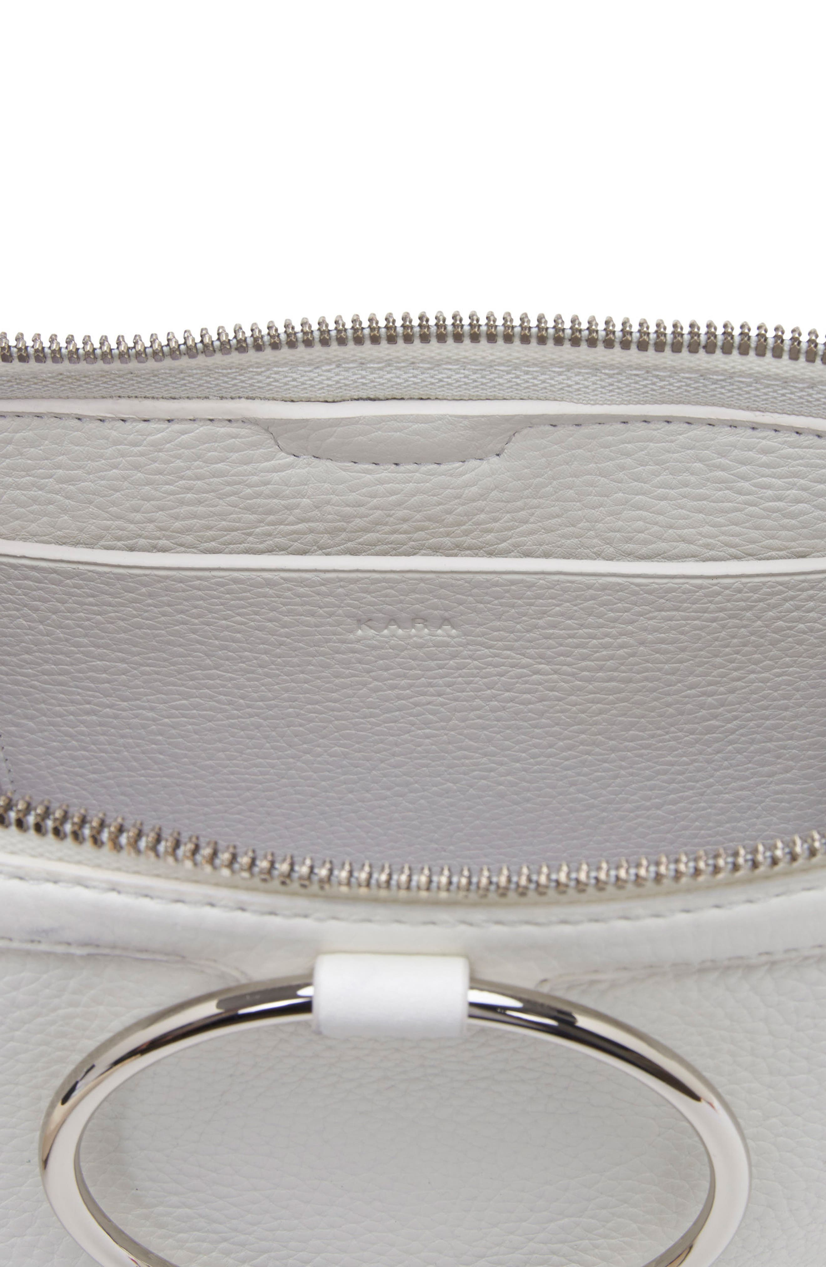 Large Pebbled Leather Ring Clutch,                             Alternate thumbnail 4, color,                             Off White