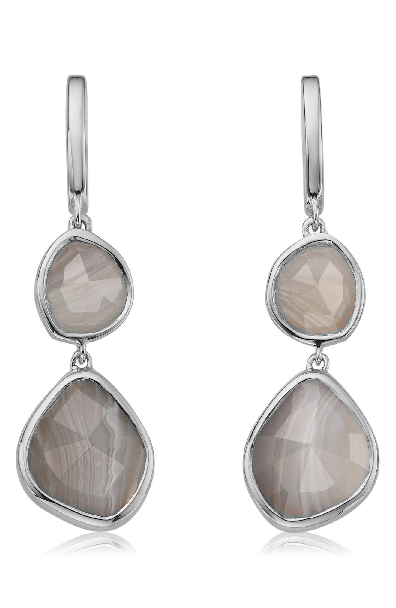 Siren Nugget Semiprecious Stone Drop Earrings,                         Main,                         color, Silver/ Grey Agate