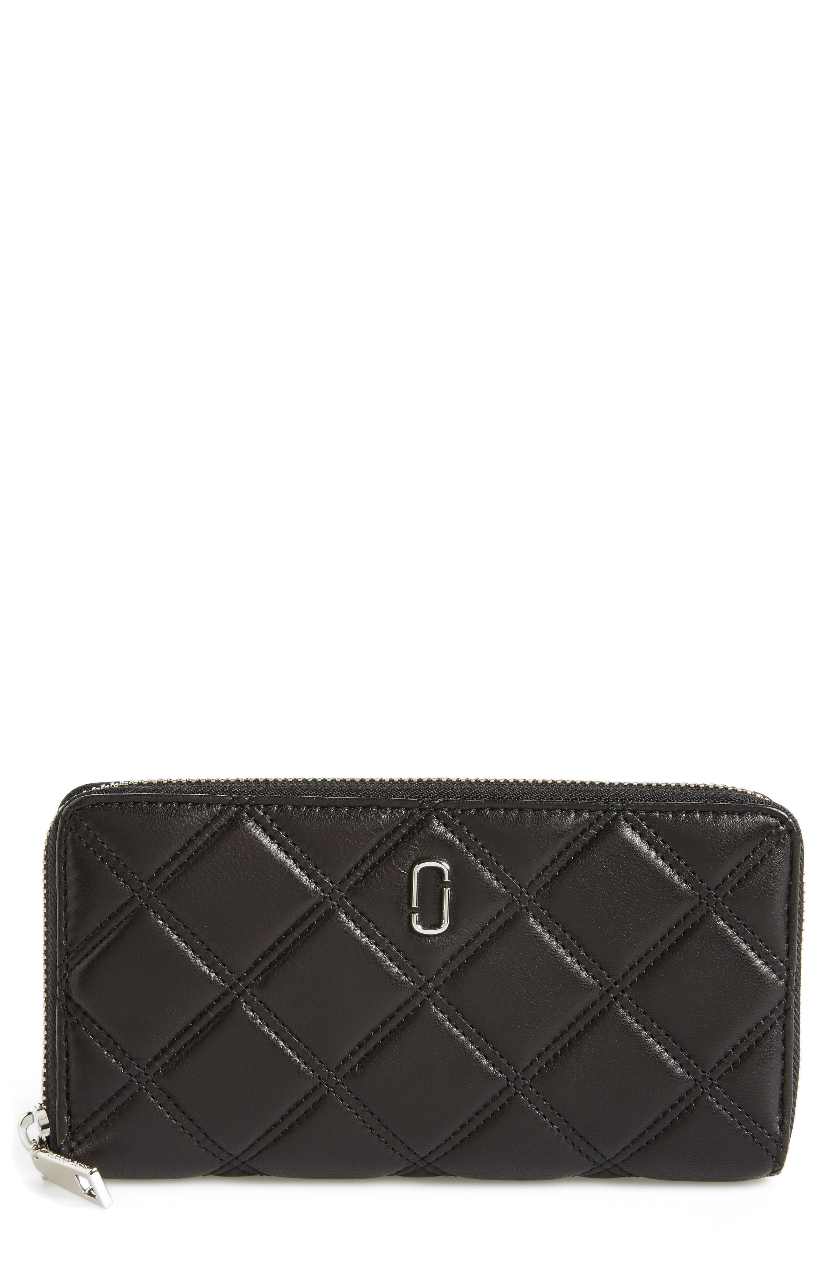 Quilted Leather Zip Wallet,                             Main thumbnail 1, color,                             Black