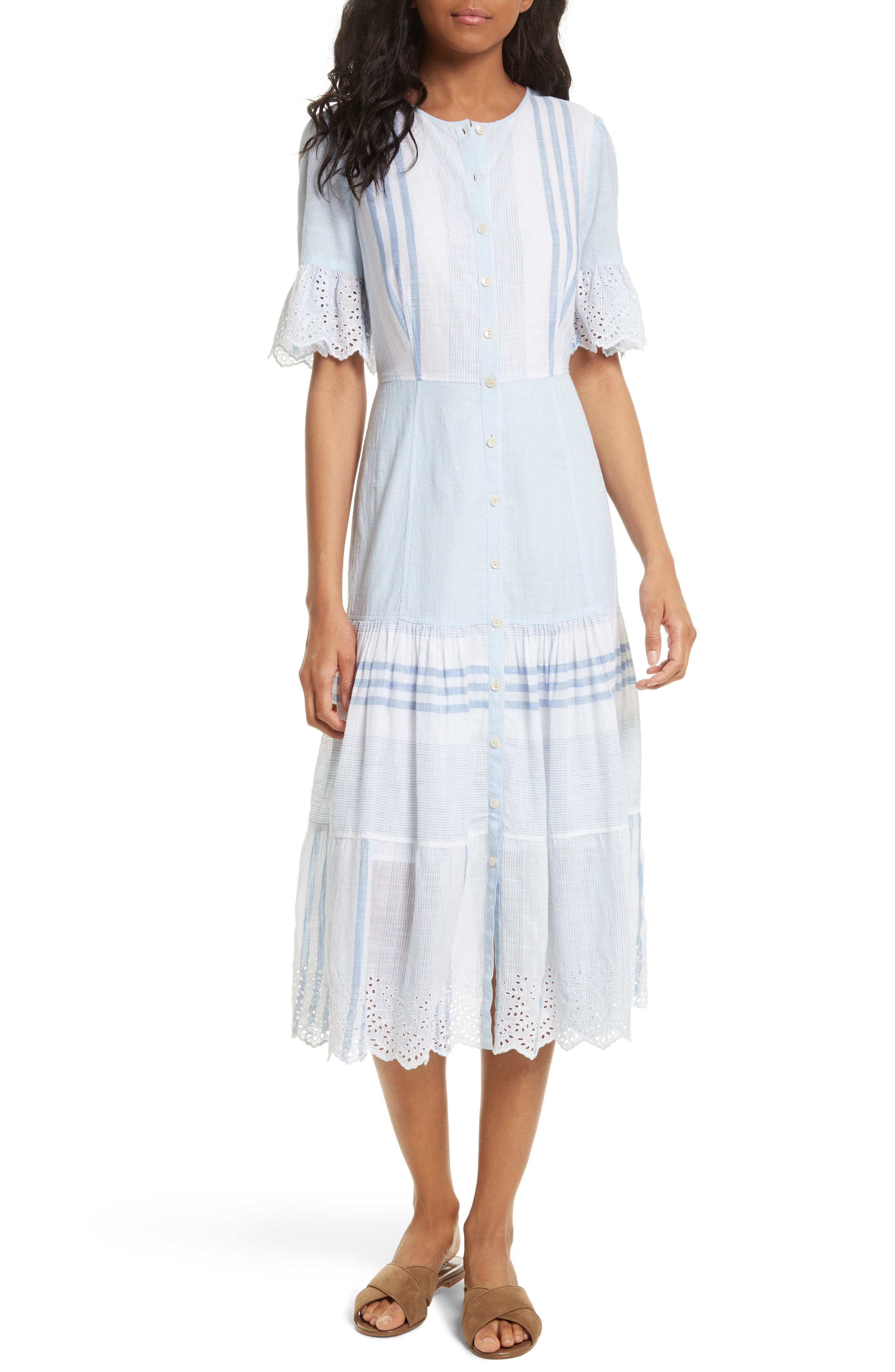 La Vie Rebecca Taylor Stripe Cotton Midi Dress