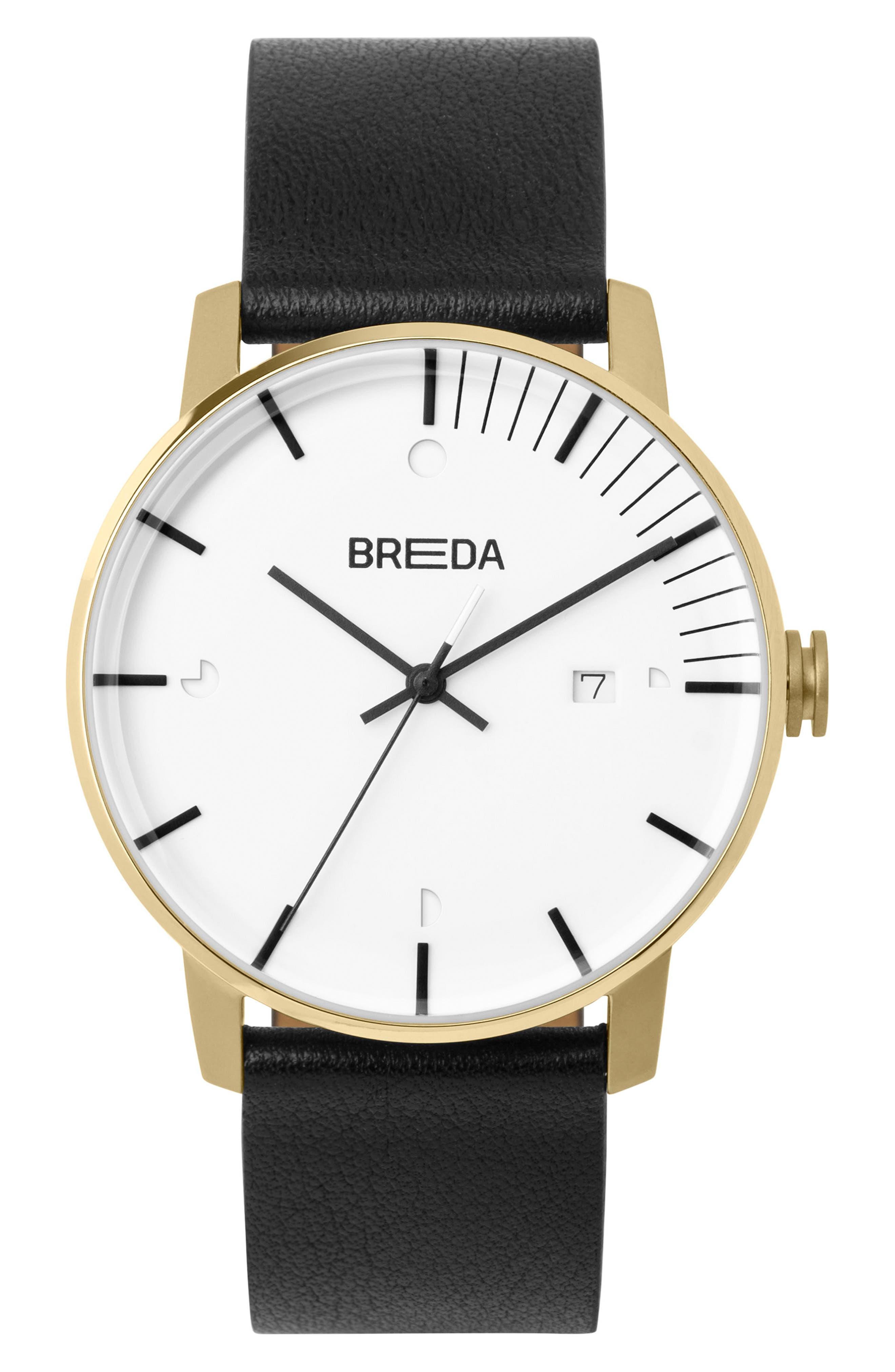 Phase Leather Strap Watch, 39mm,                         Main,                         color, White/ Black