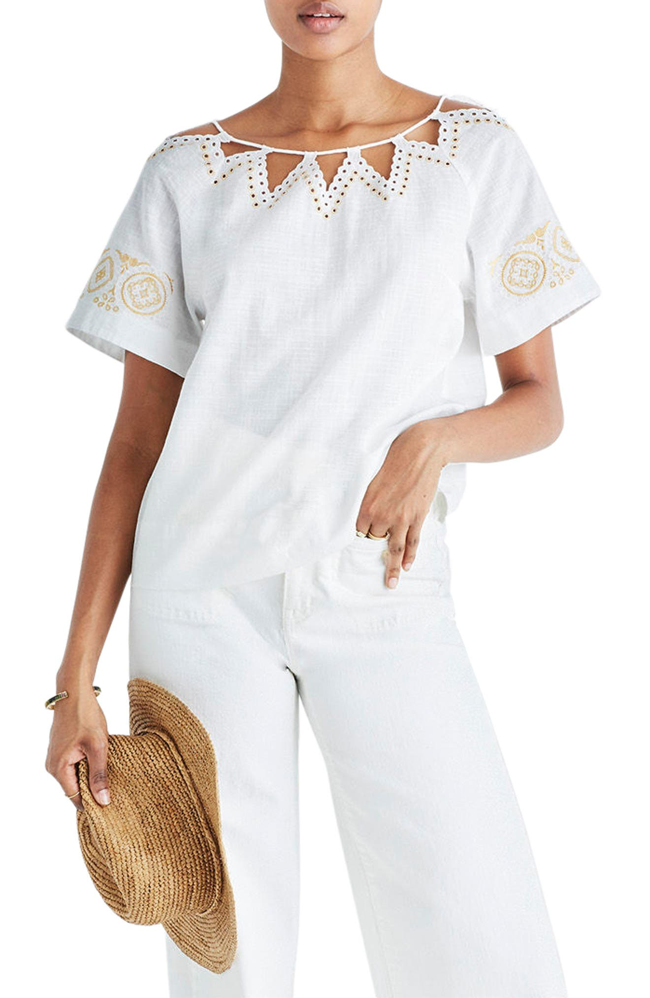Alternate Image 1 Selected - Madewell Eyelet Peekaboo Top