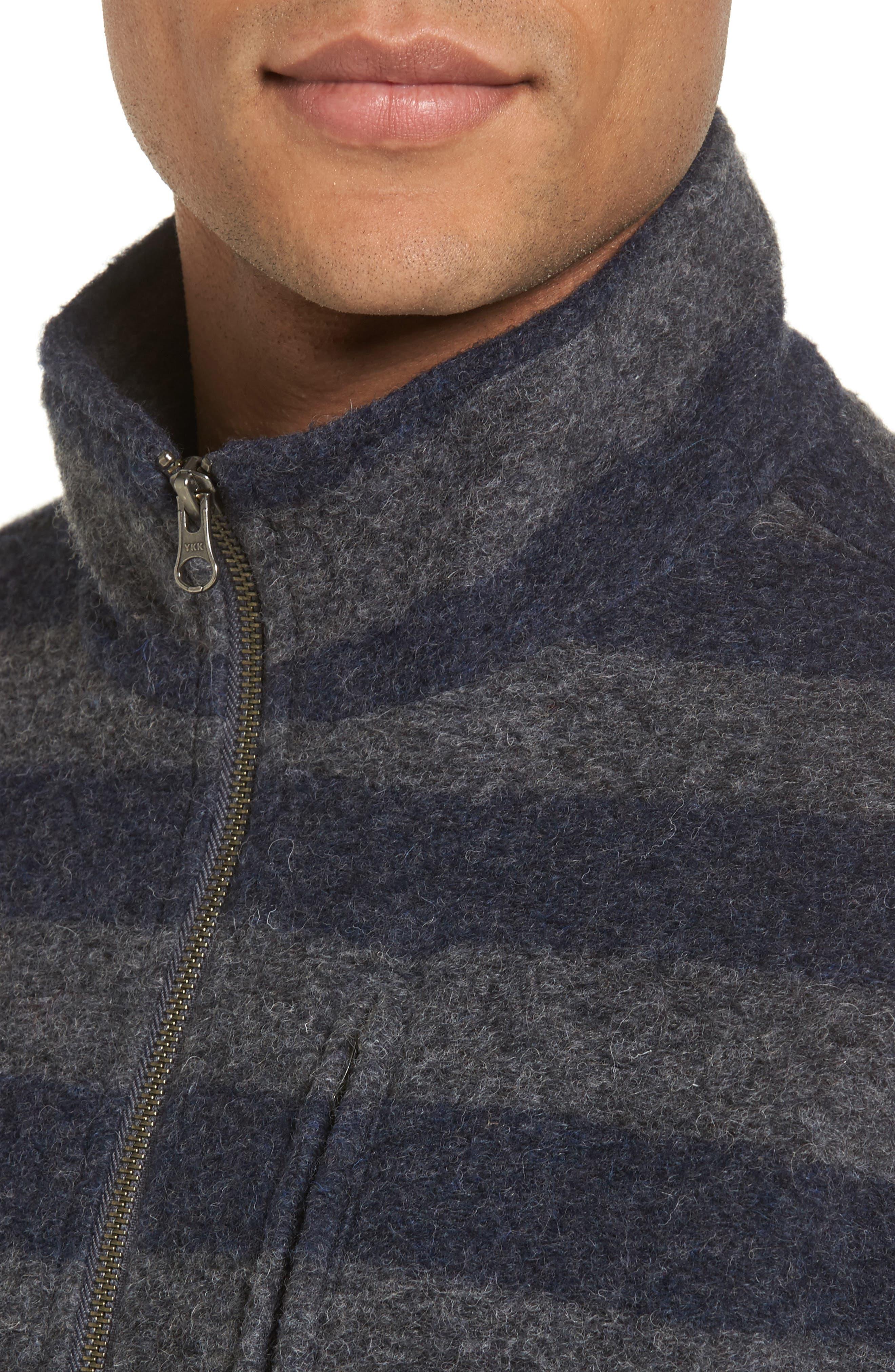 Bowen Stripe Zip Front Jacket,                             Alternate thumbnail 4, color,                             Grey Navy Stripe
