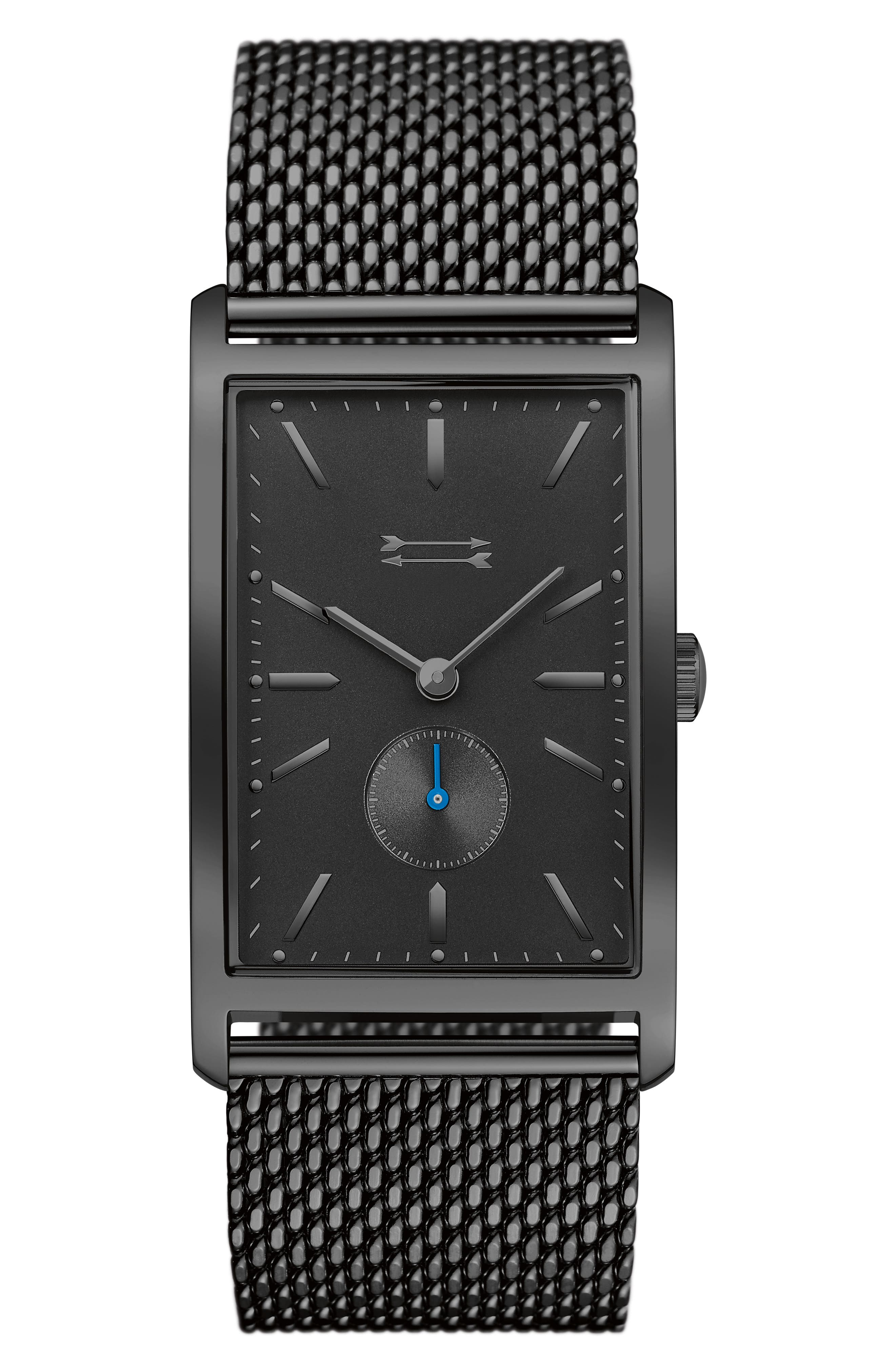 Pesaro Mesh Strap Watch, 27mm,                             Main thumbnail 1, color,                             Black