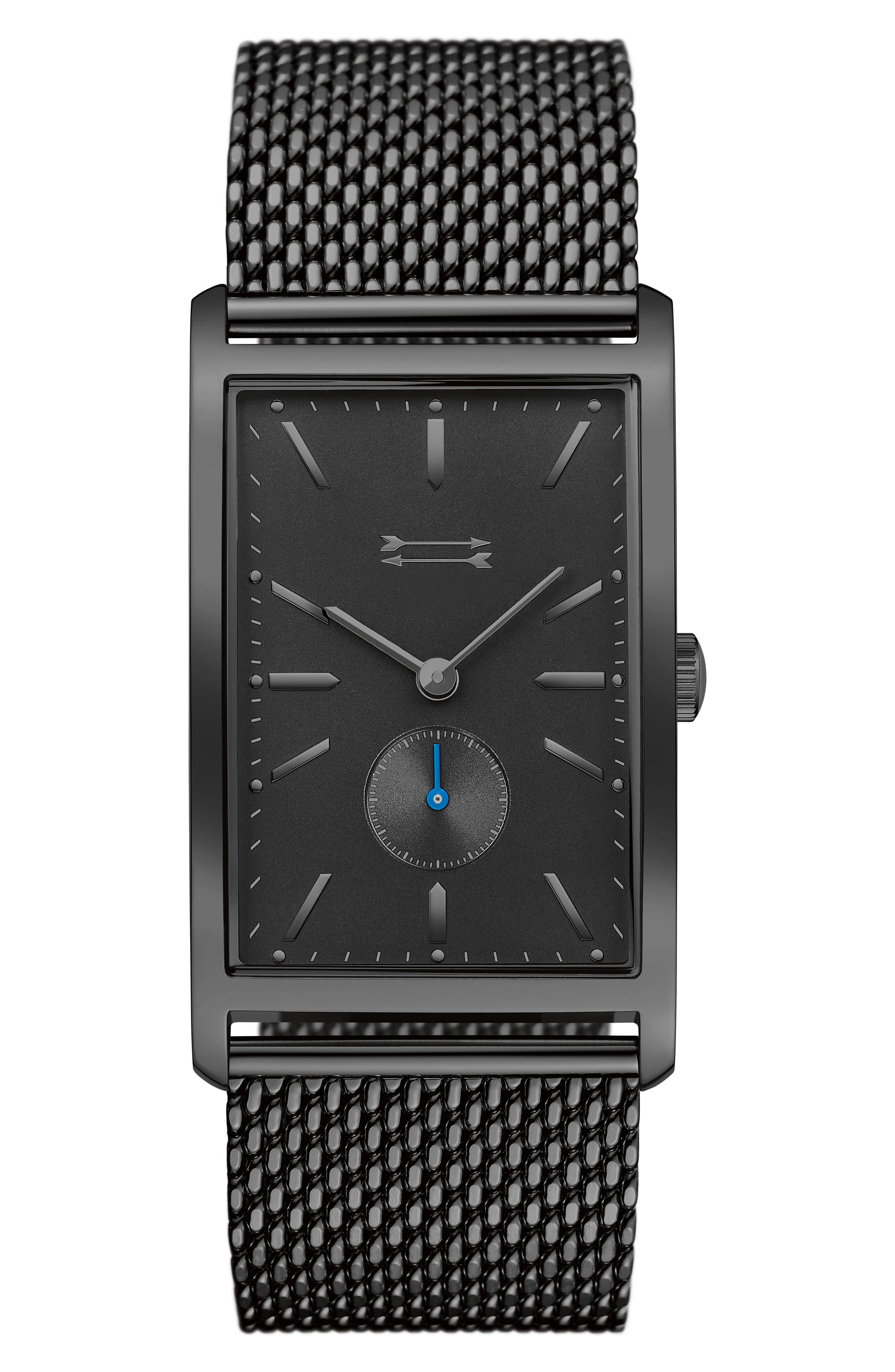 Pesaro Mesh Strap Watch, 27mm,                         Main,                         color, Black