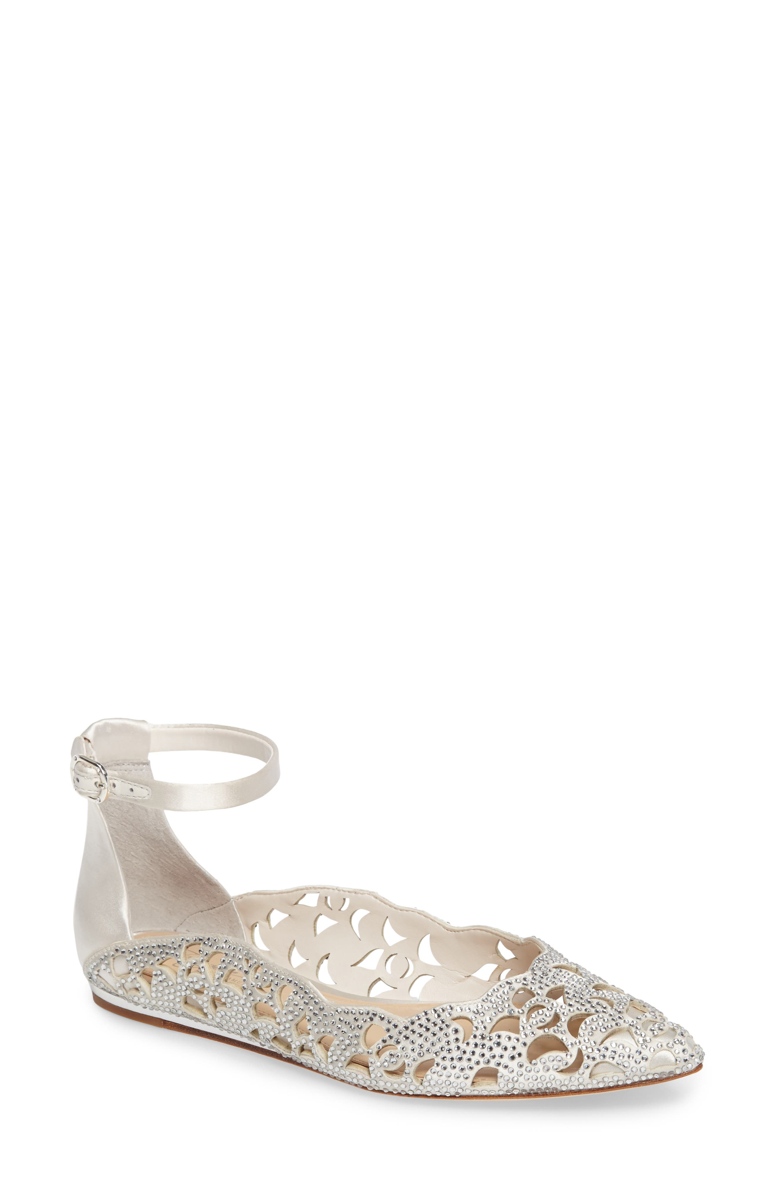 Garyn Ankle Strap Flat,                         Main,                         color, Ivory Satin
