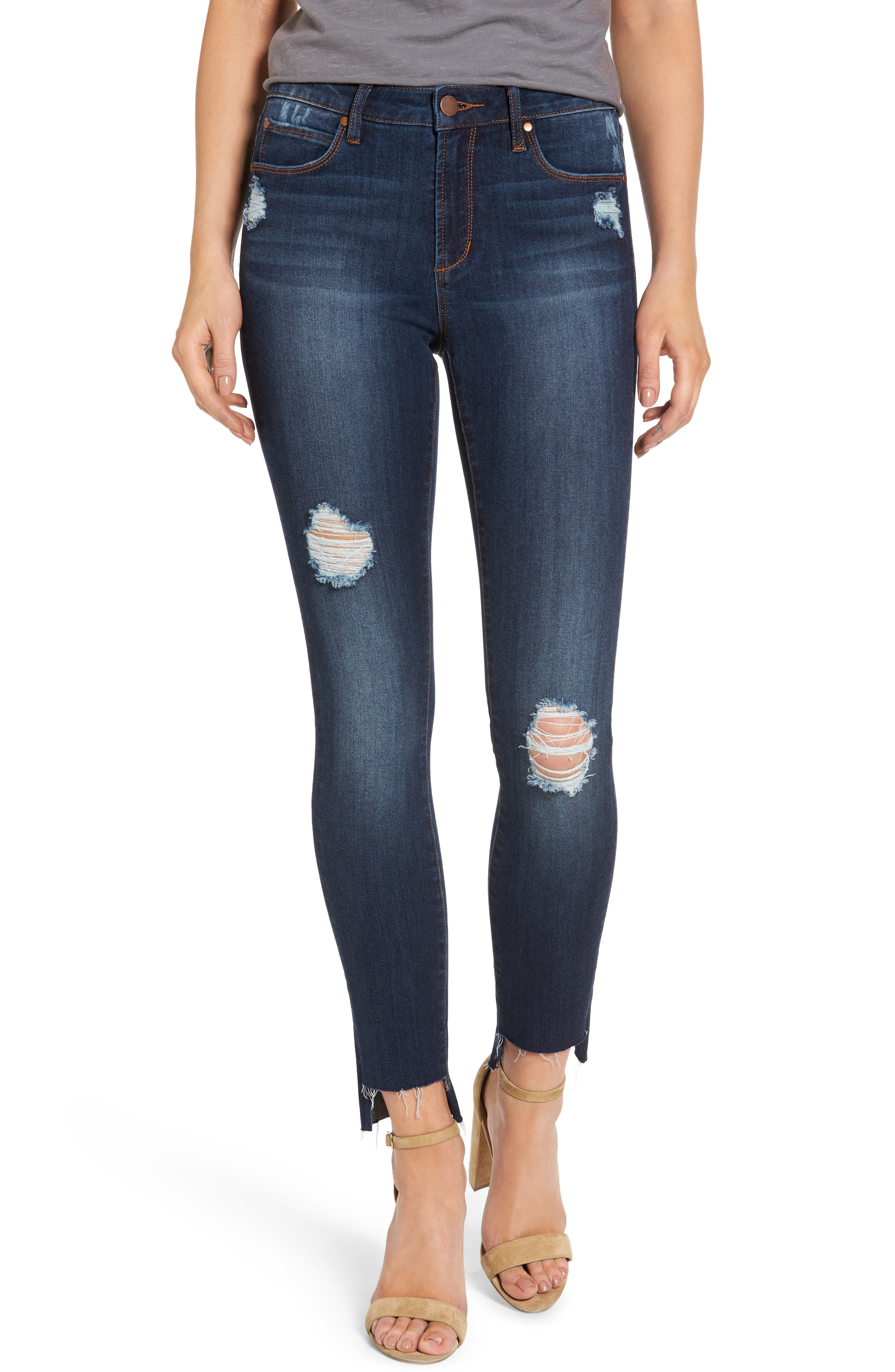 Alternate Image 1 Selected - Leith Ripped Step Hem Skinny Jeans (Destroy Medium)