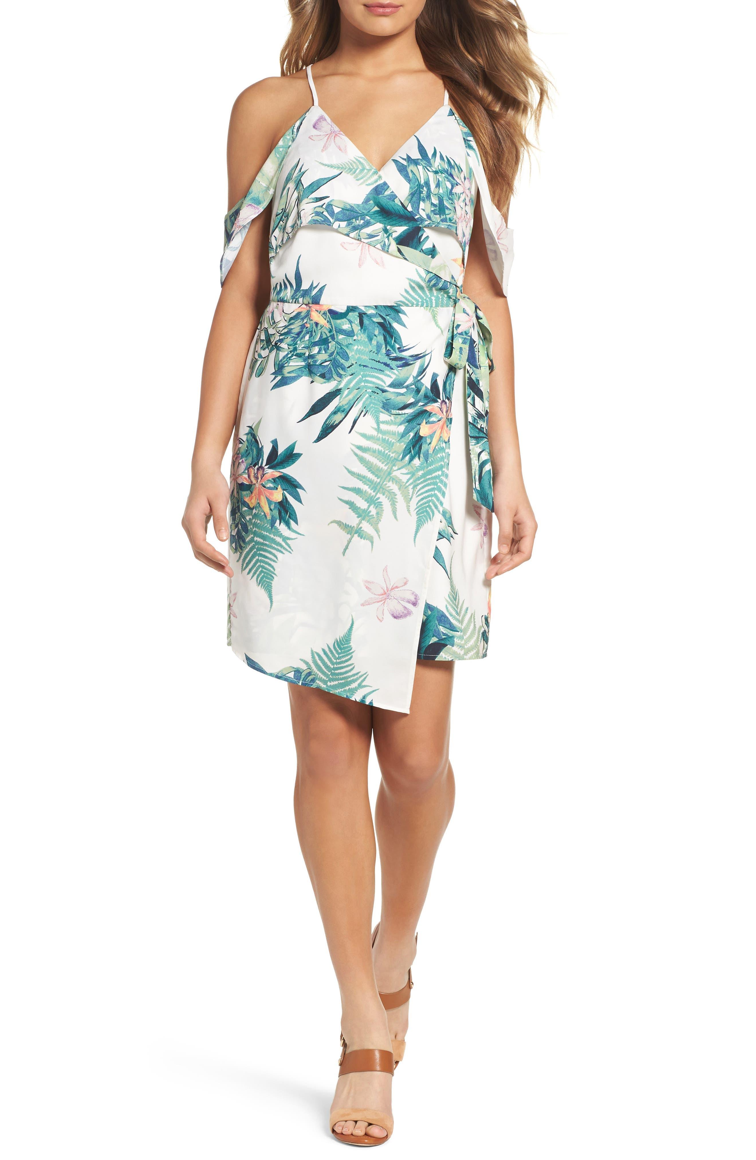 Adelyn Rae Prescilla Cold Shoulder Wrap Dress